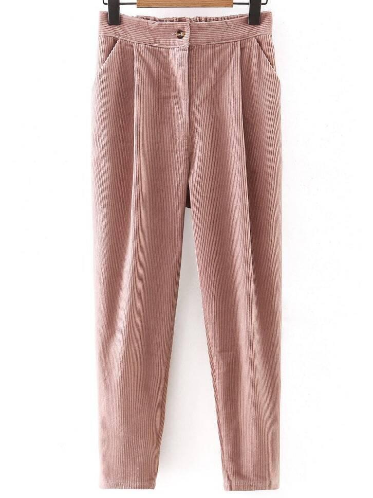 pantalons en velours c tel avec bouton rose french romwe. Black Bedroom Furniture Sets. Home Design Ideas