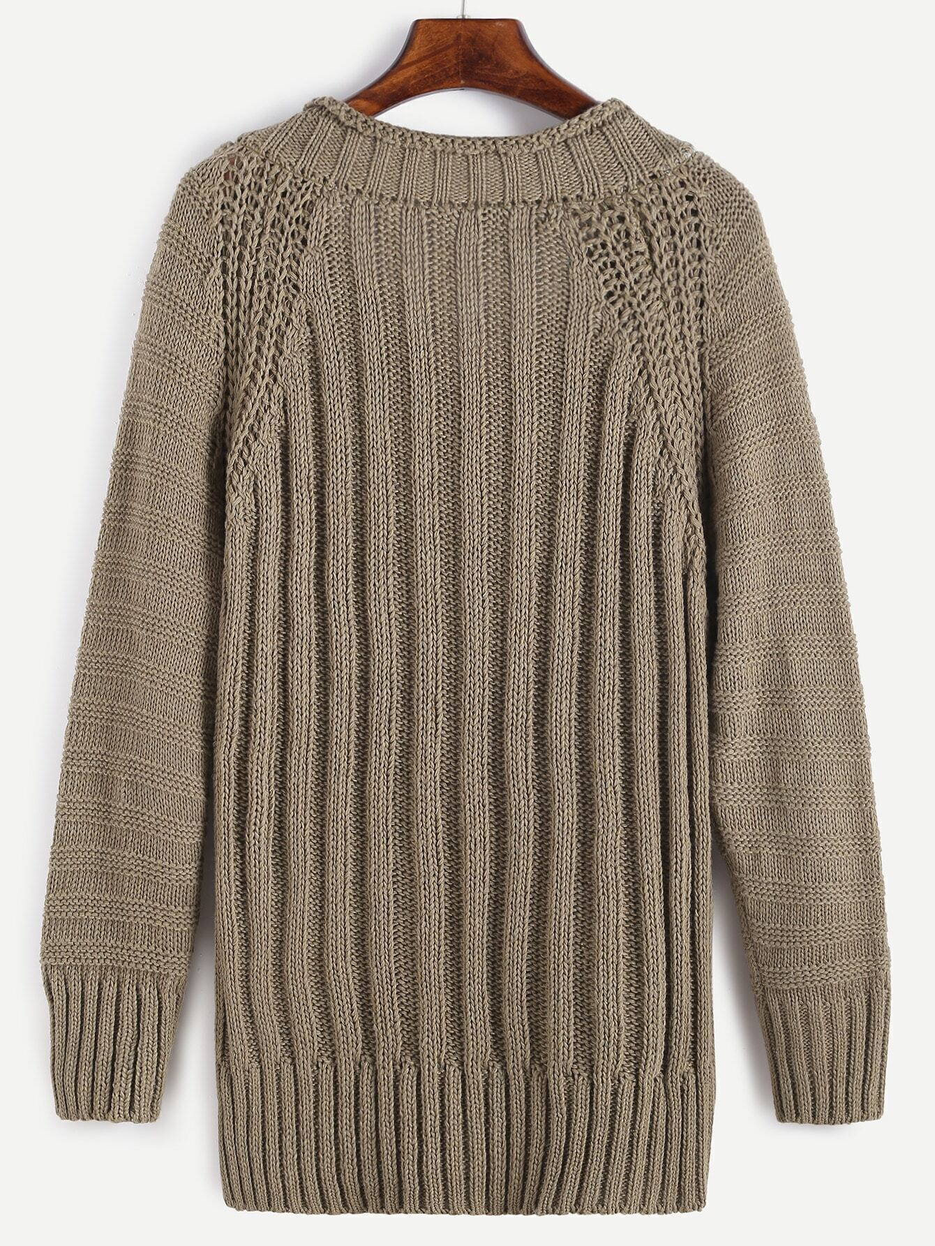 V Neck Ribbed Knit Long Sweater