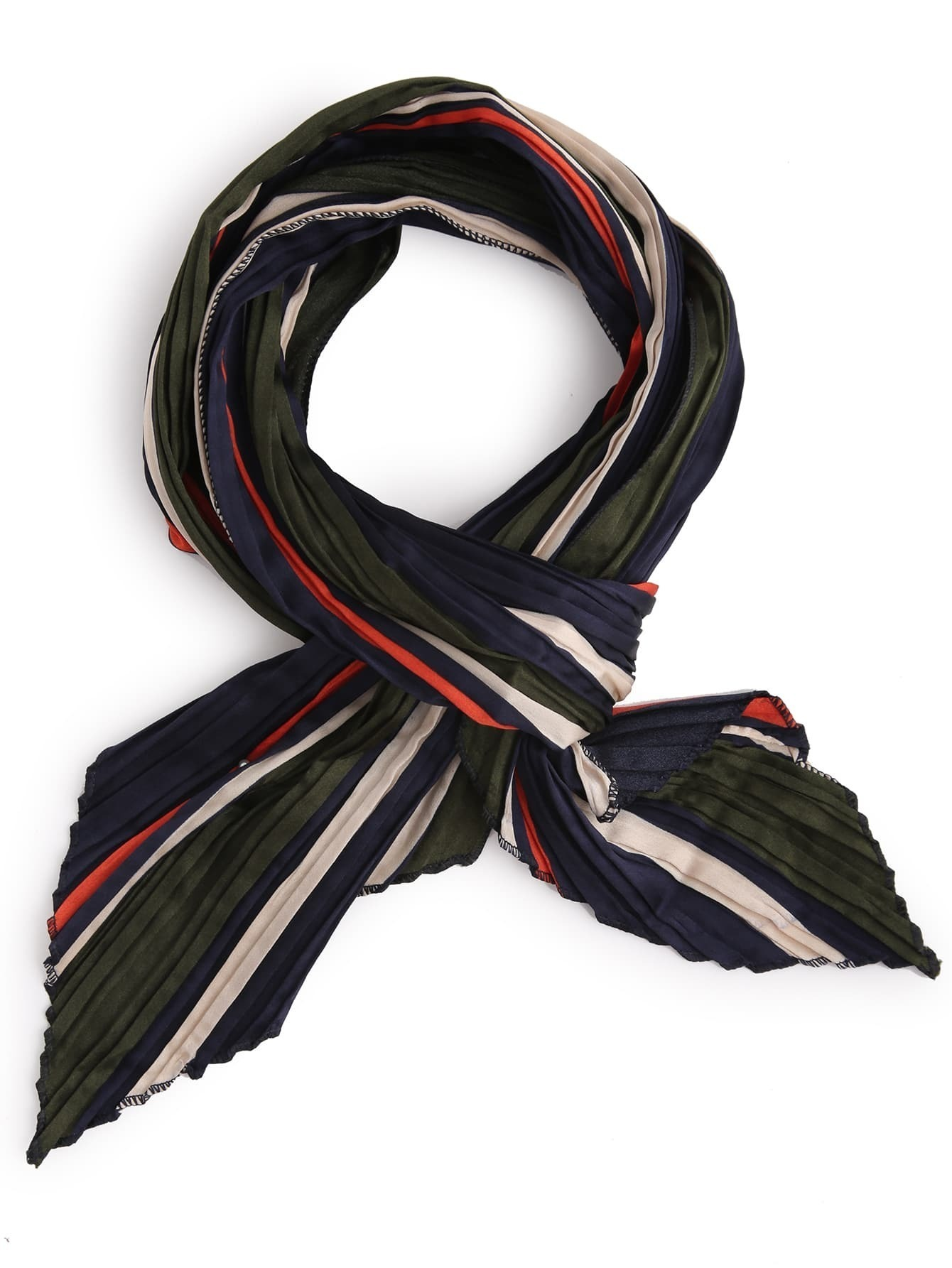 multicolor folding stripe satin scarffor romwe