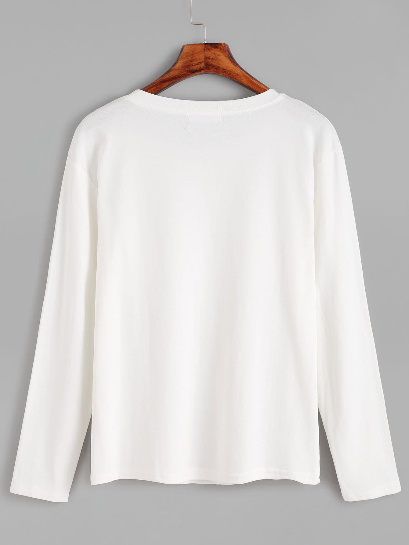 White heart embroidered pockets t shirtfor women romwe