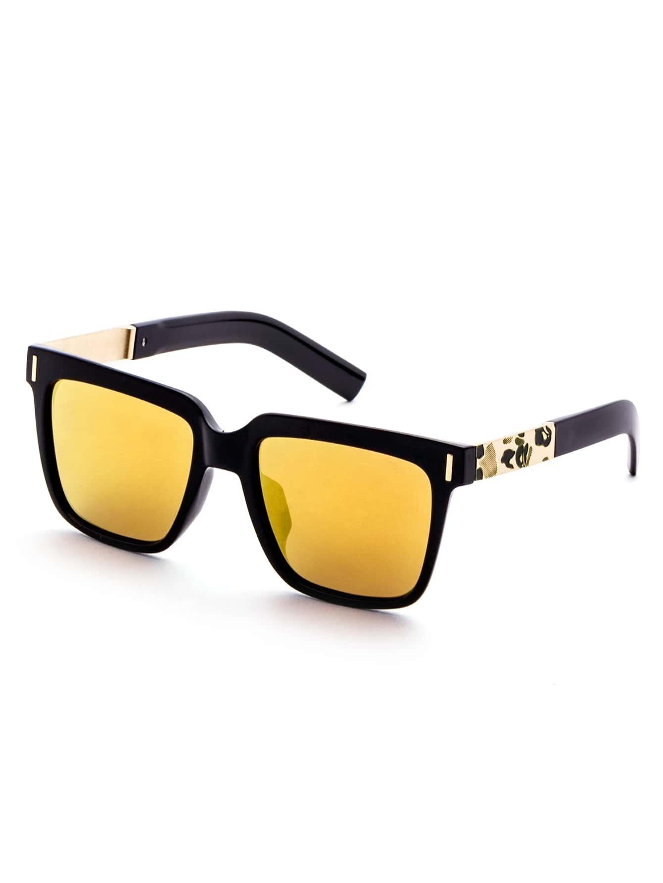 Black Frame Yellow Lens Metal Trim Sunglasses