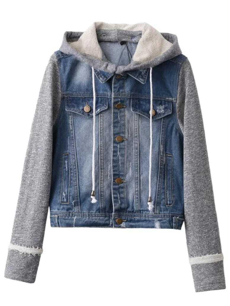 Blue Contrast Sleeve Drawstring Hooded Denim Jacket