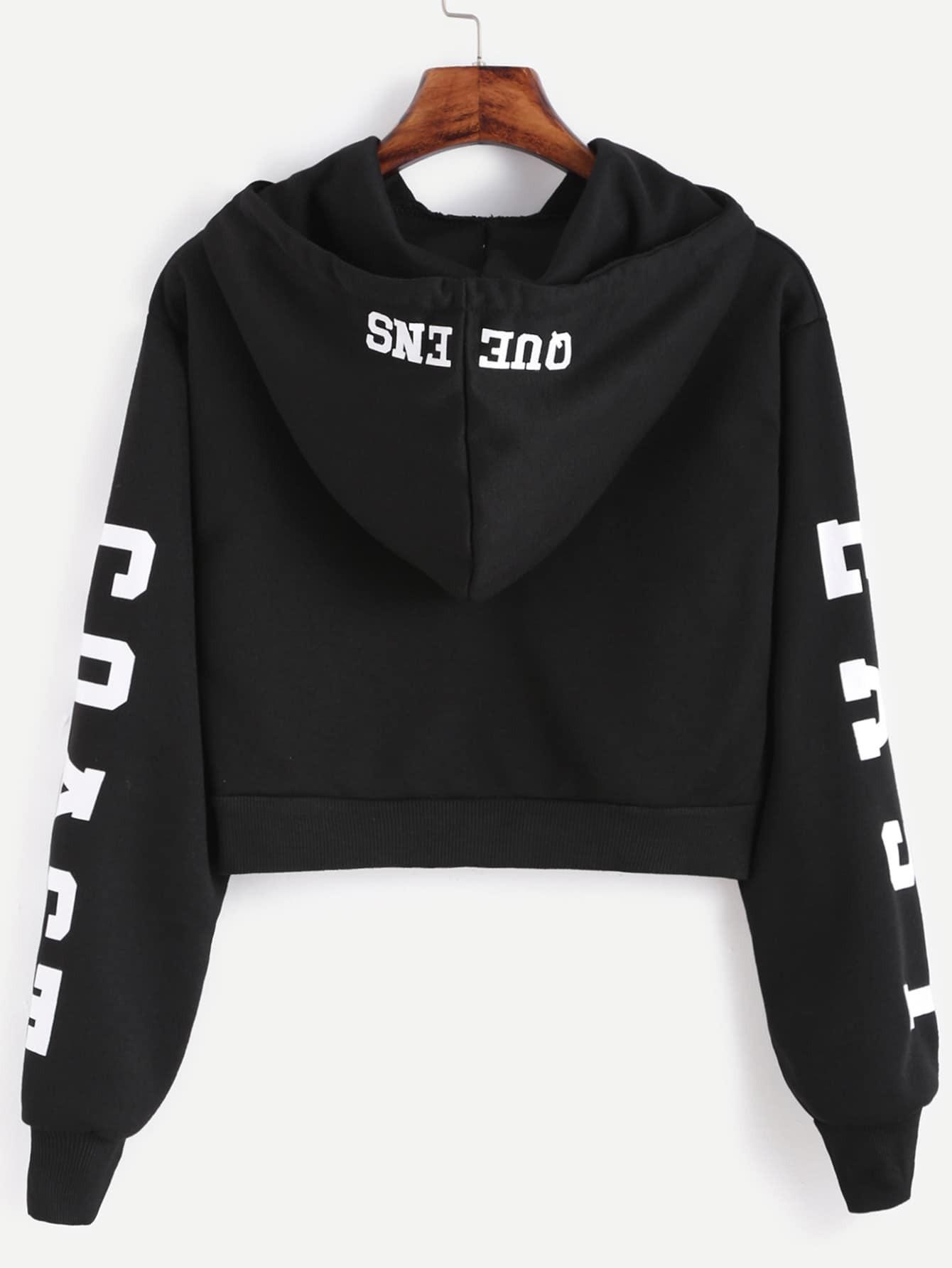Black Hooded Letters Print Crop SweatshirtFor Women-romwe