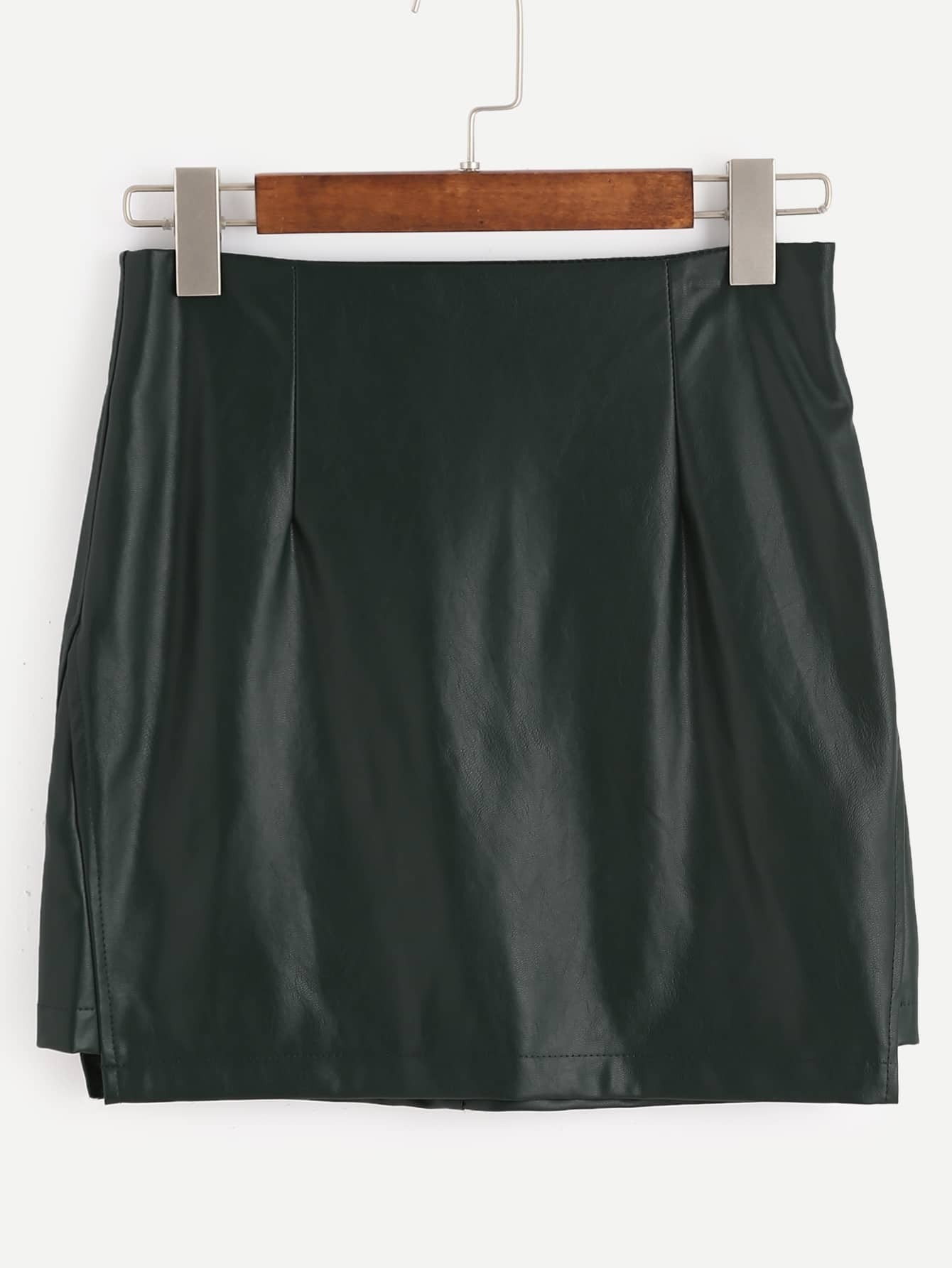 green faux leather skirt with zipperfor romwe