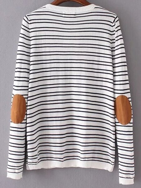 elbow patch template - white striped elbow patch knitwearfor women romwe