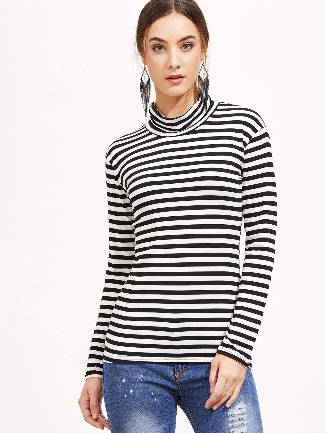 Black and white striped high neck t shirt for High neck tee shirts