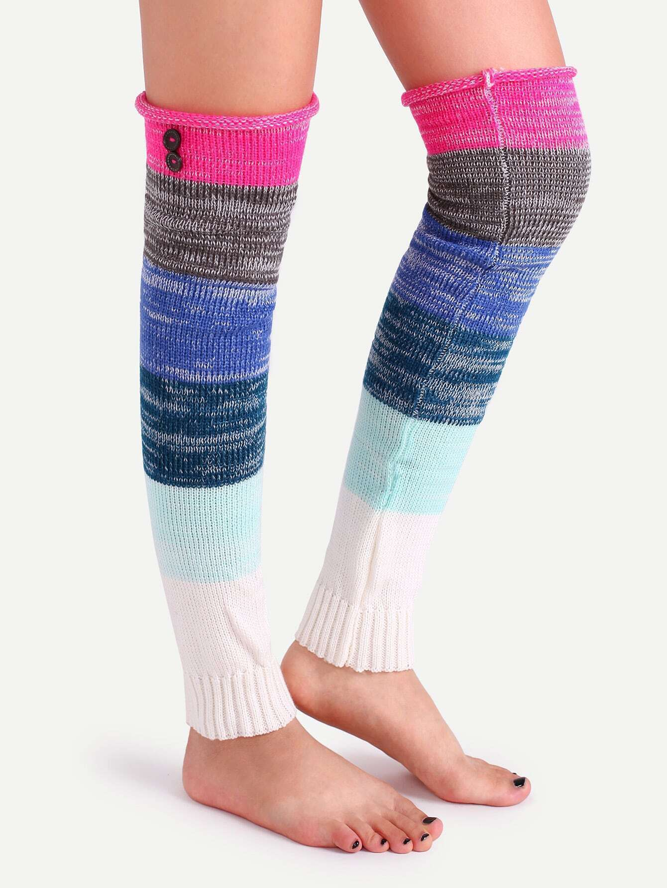 Knitting Pattern For Leg Warmers With Buttons : Multicolor Patchwork Button Knit Leg Warmers