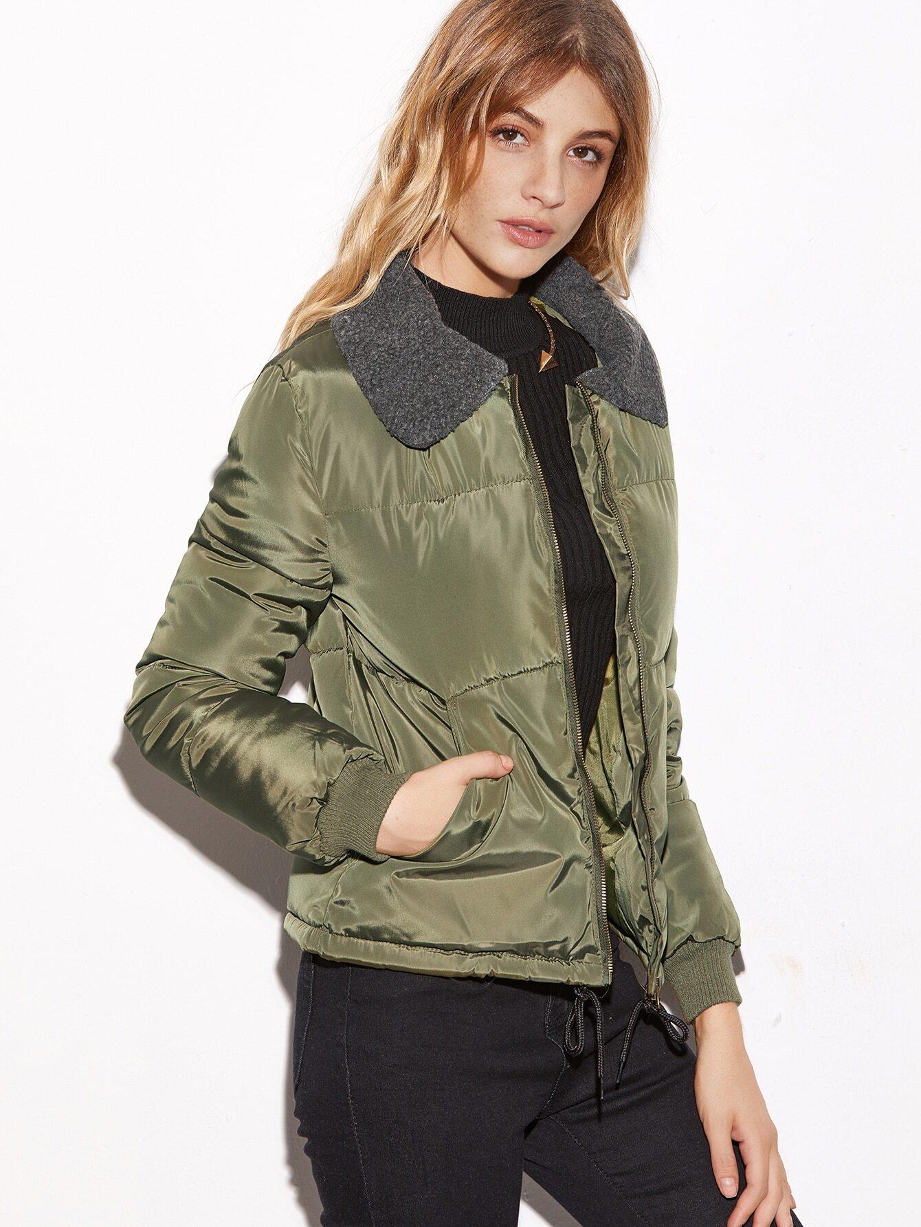manteau matelass avec cordon de serrage et collier contrast vert d 39 arm e french romwe. Black Bedroom Furniture Sets. Home Design Ideas
