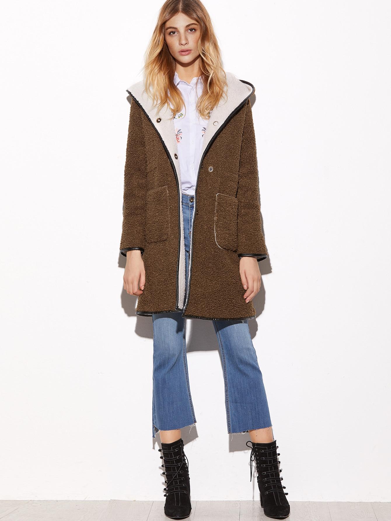 manteau capuche en tonte fausse avec double poches devant marron french romwe. Black Bedroom Furniture Sets. Home Design Ideas