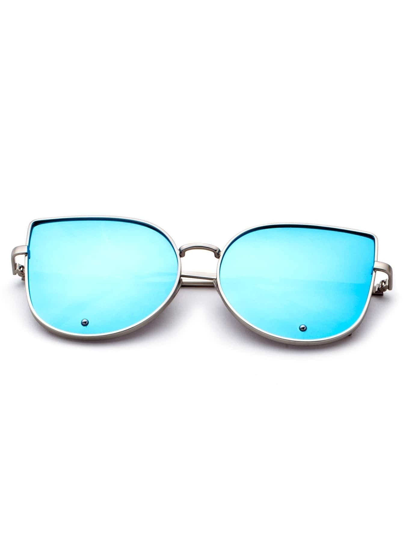Gold Frame Blue Cat Eye Stylish Sunglasses