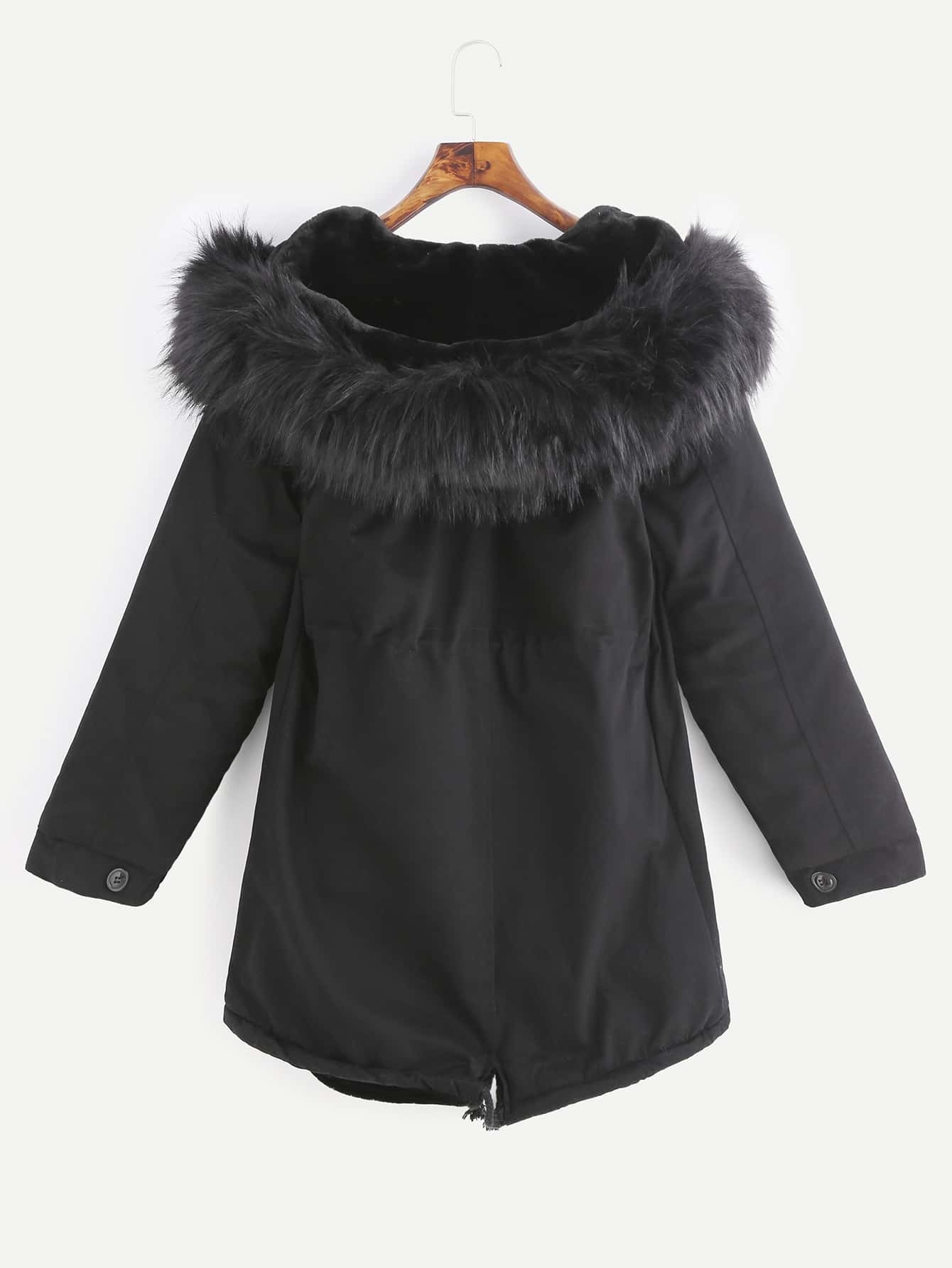 Black Drawstring Hooded Fleece Lined Faux Fur Trim ParkaFor Women ...