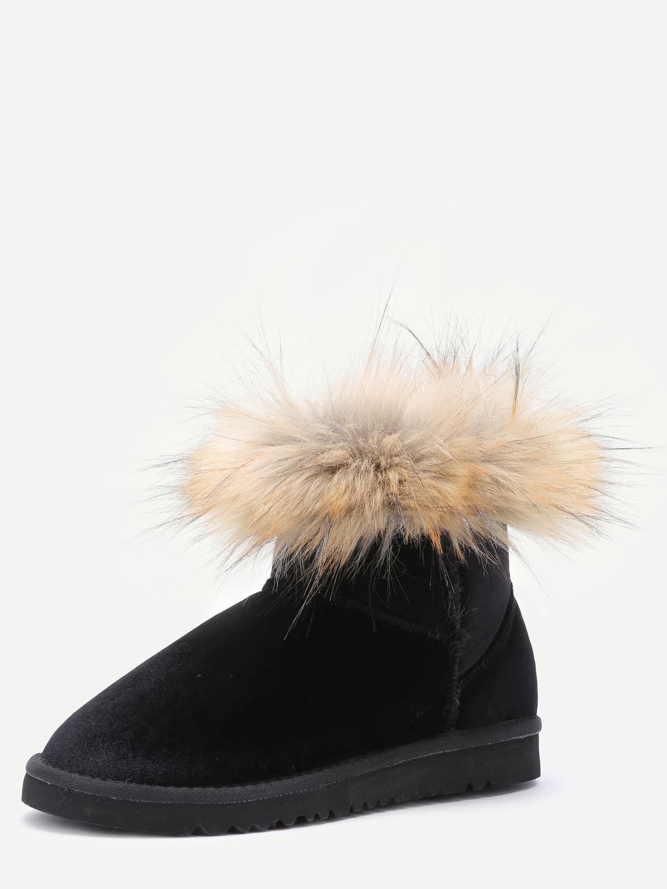 bottines de neige en velvet avec fourrure noir. Black Bedroom Furniture Sets. Home Design Ideas