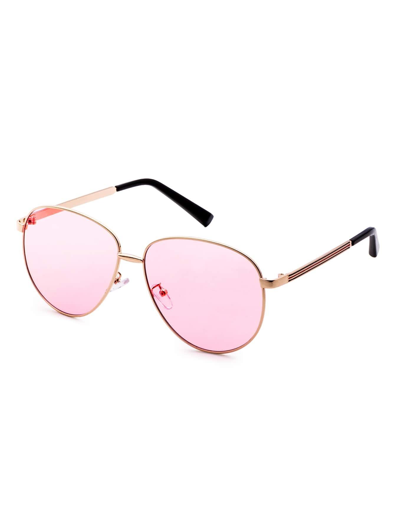lunettes de soleil r tro verre rose monture en m tal. Black Bedroom Furniture Sets. Home Design Ideas