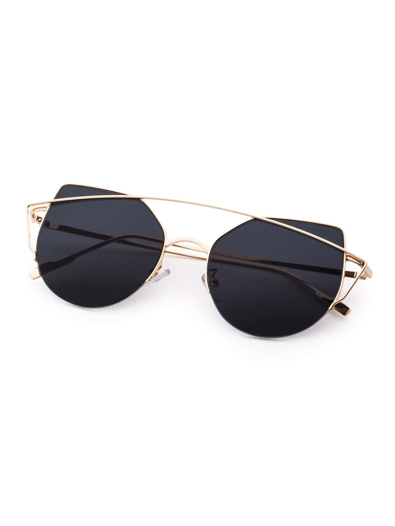 Gold Frame Cat Eye Sunglasses : Gold Frame Double Bridge Black Cat Eye Sunglasses