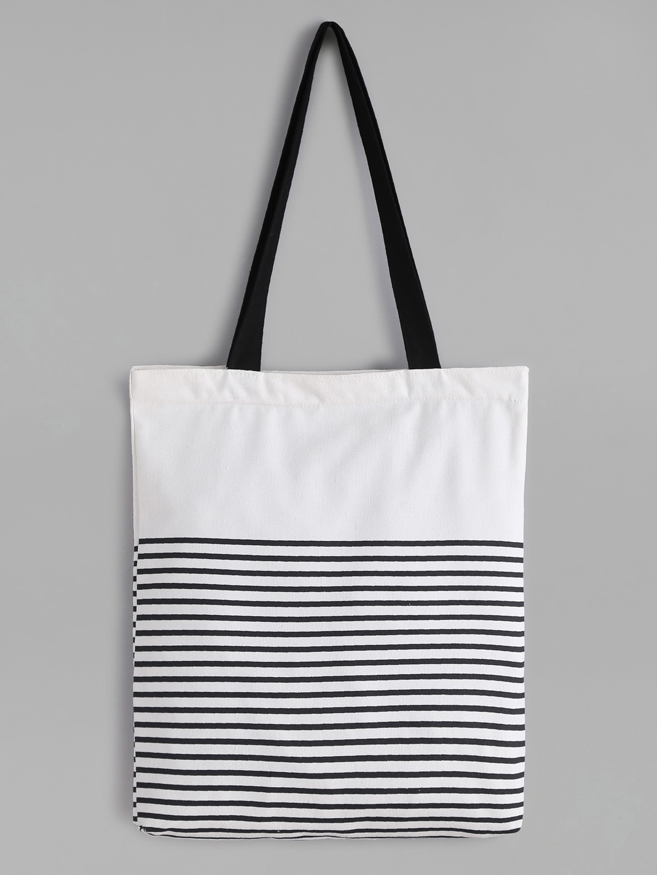 White Striped Canvas Tote Bag With Black Strap