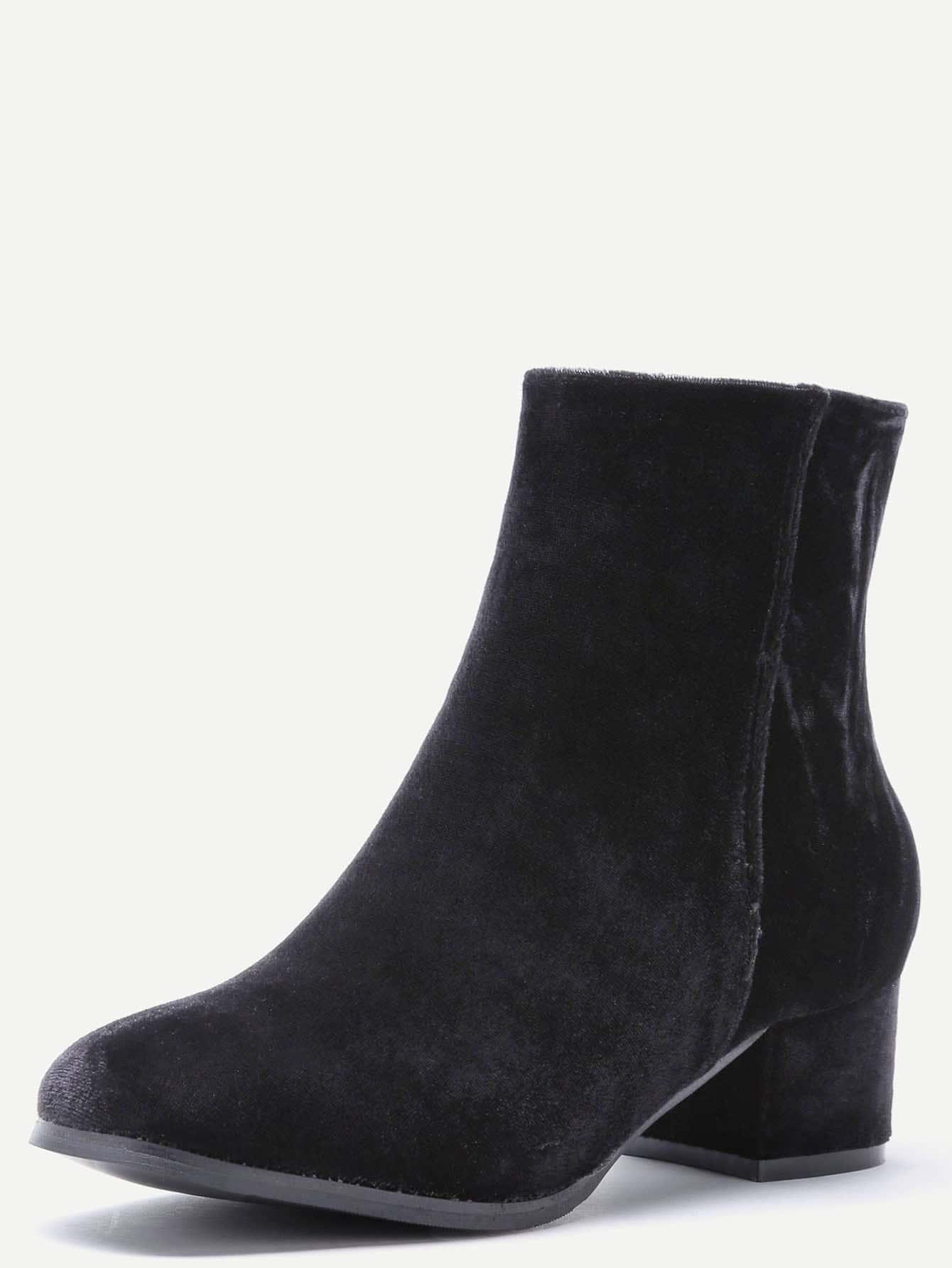 bottes talon pais en velours avec zip noir french romwe. Black Bedroom Furniture Sets. Home Design Ideas