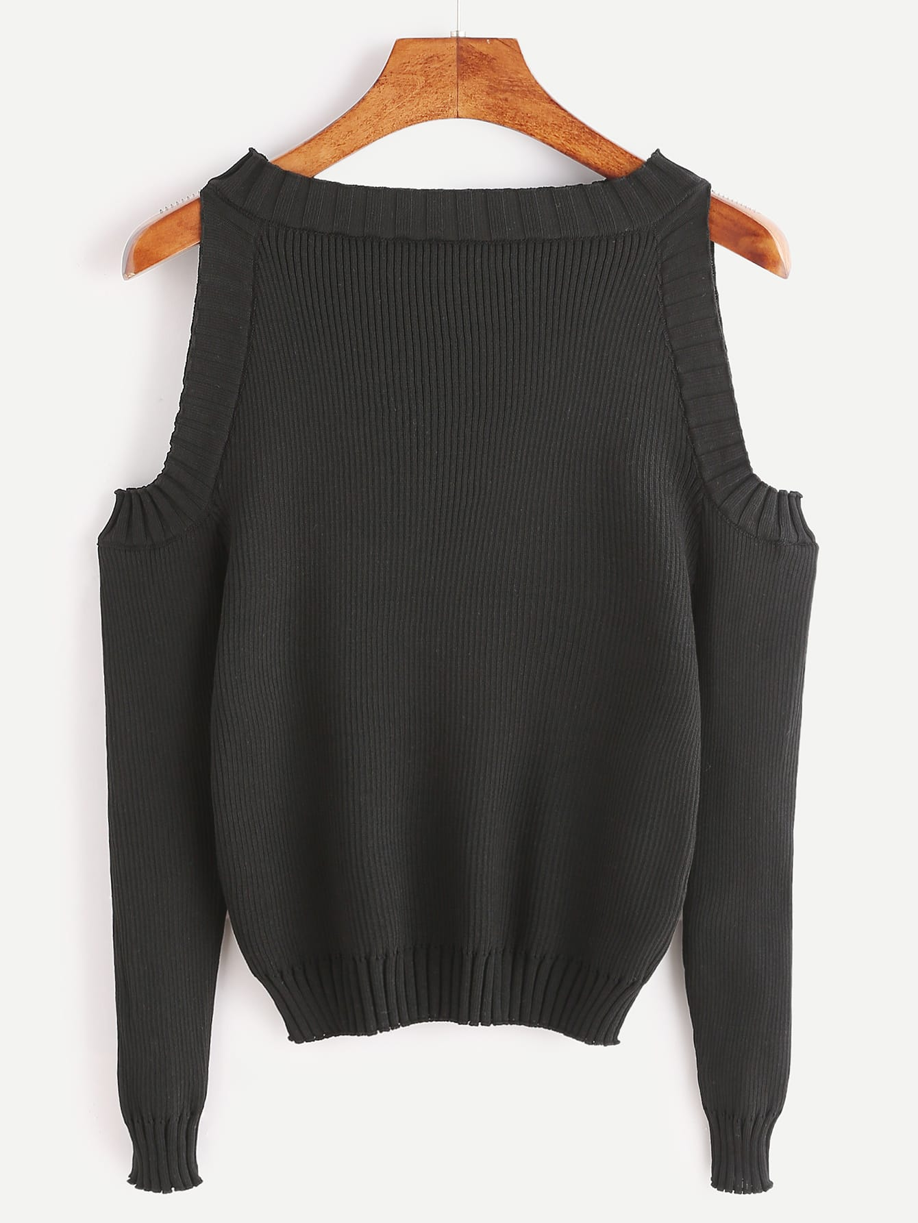 Black Open Shoulder Long Sleeve SweaterFor Women-romwe