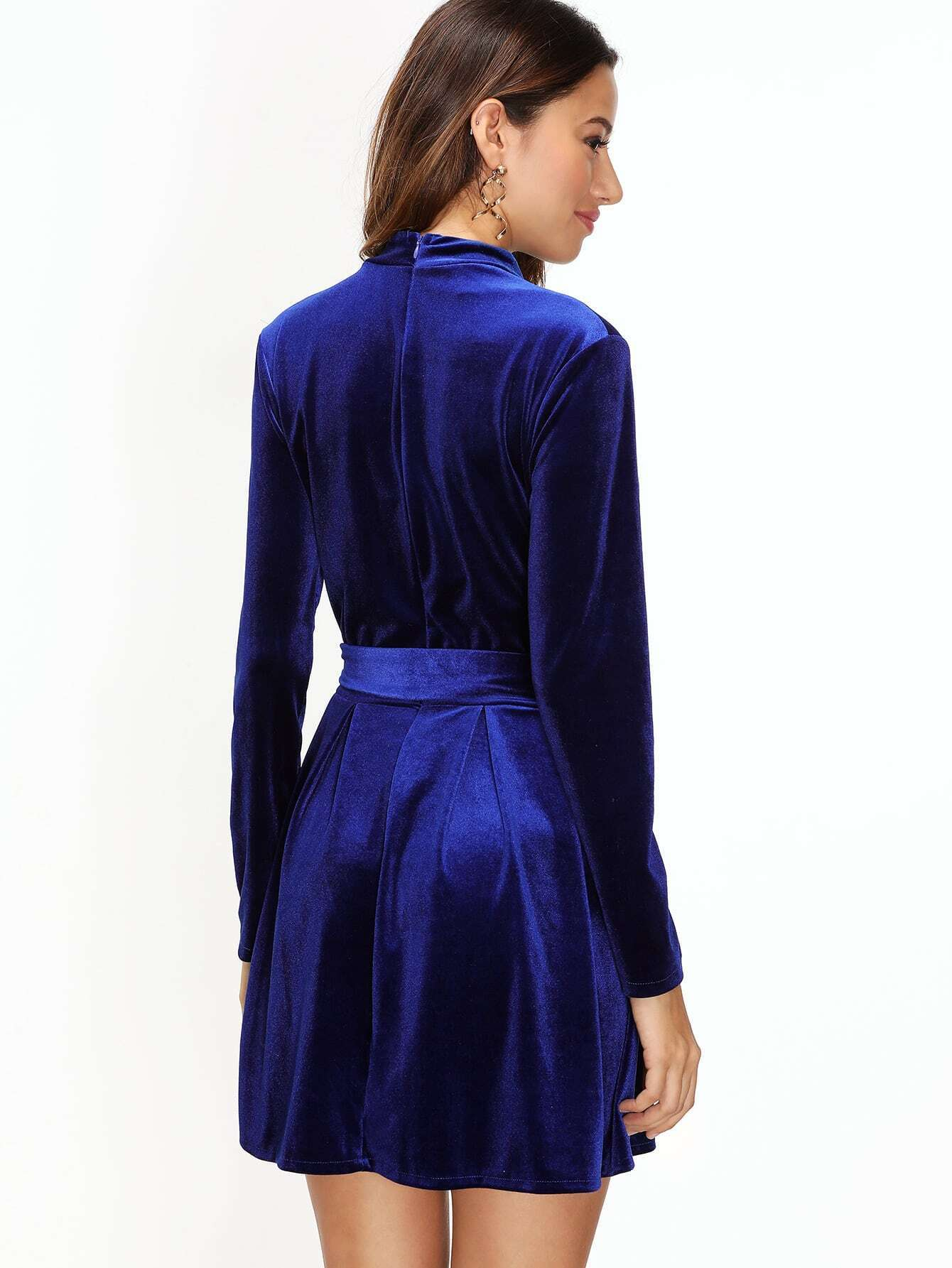 royal blue velvet choker neck zip back dress with belt. Black Bedroom Furniture Sets. Home Design Ideas