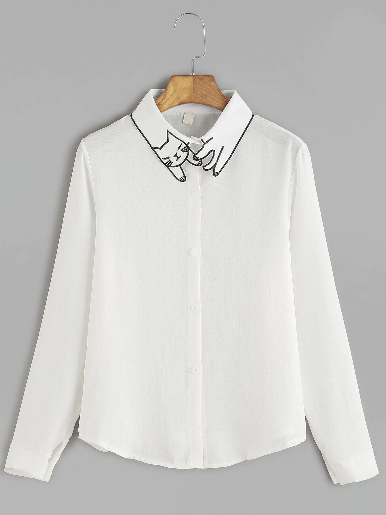 White cat embroidery collar button shirtfor women romwe for White shirt with collar pin