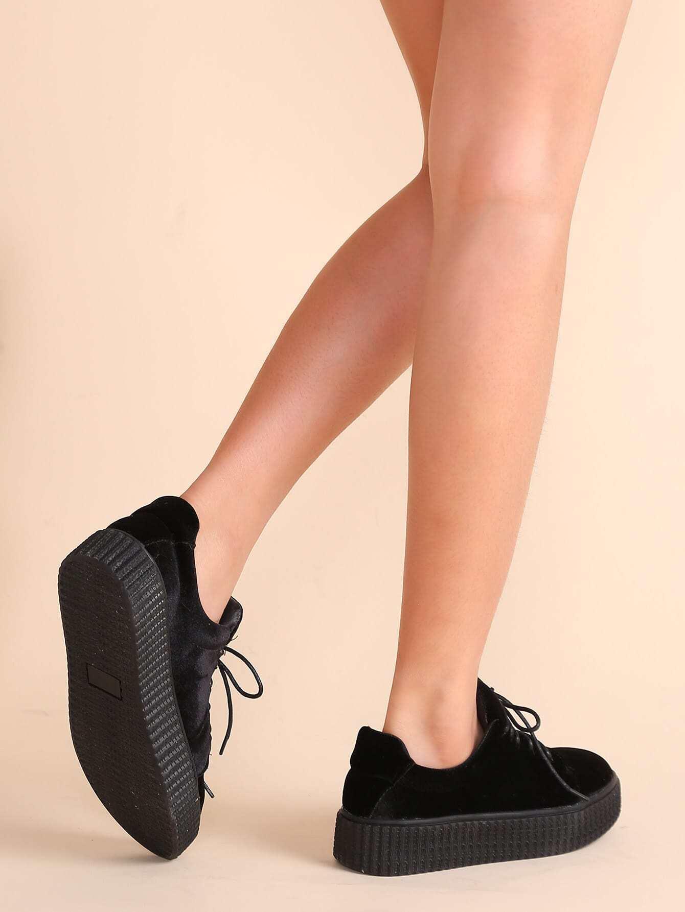 black lace up velvet platform shoesfor romwe