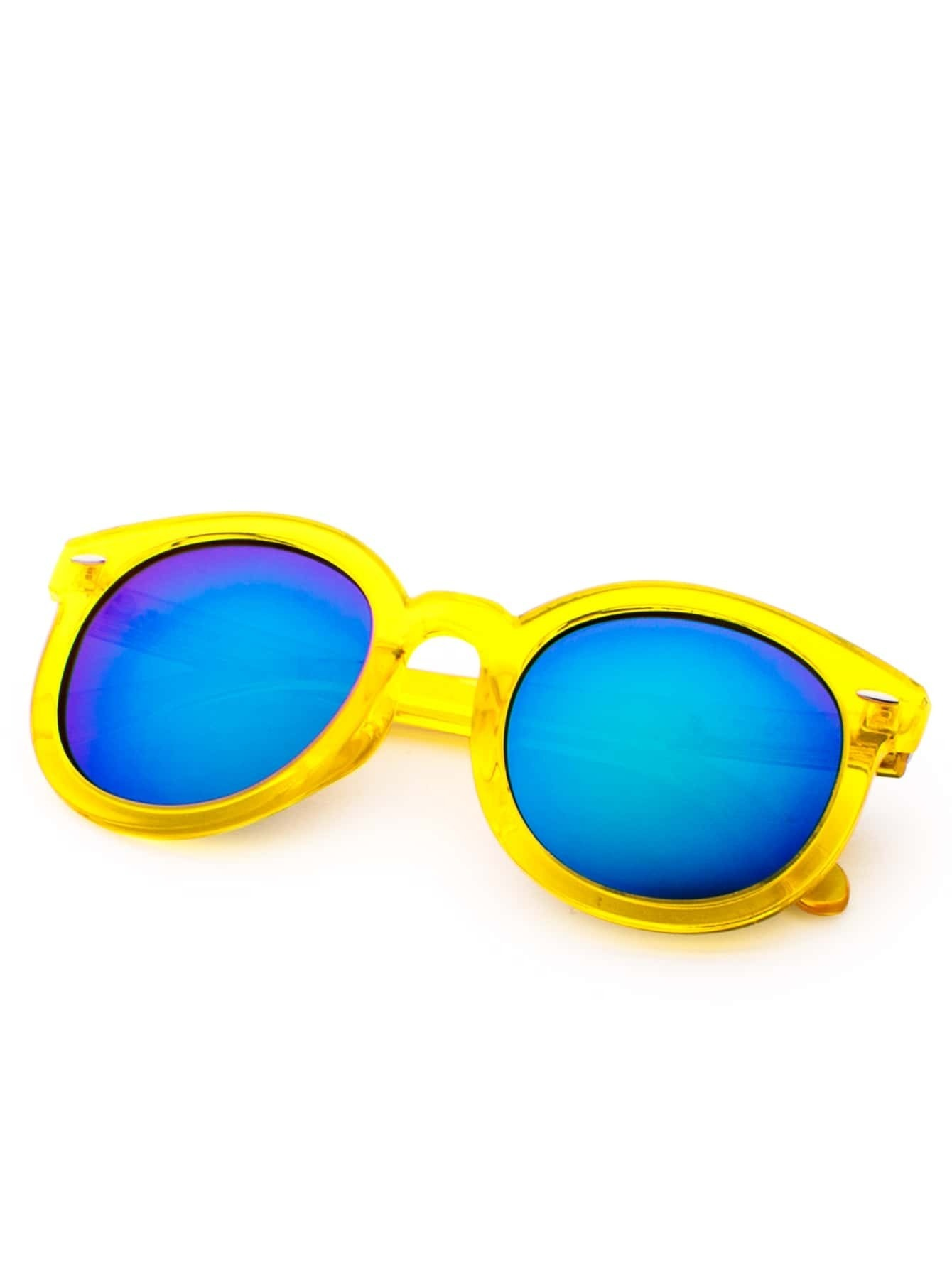 Yellow Frame Sunglasses : Yellow Frame Blue Lens Casual Sunglasses