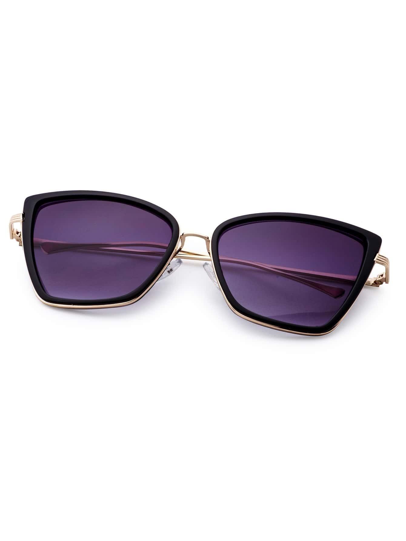Golden Frame Black Sunglasses : Black And Gold Frame Cat Eye Sunglasses