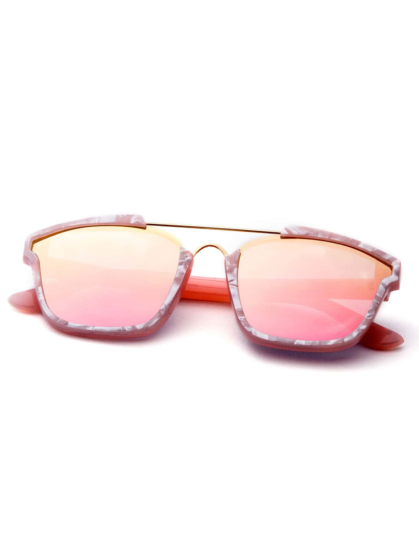 Sunglasses With Gold Frame : Rose Gold Frame Double Bridge Sunglasses