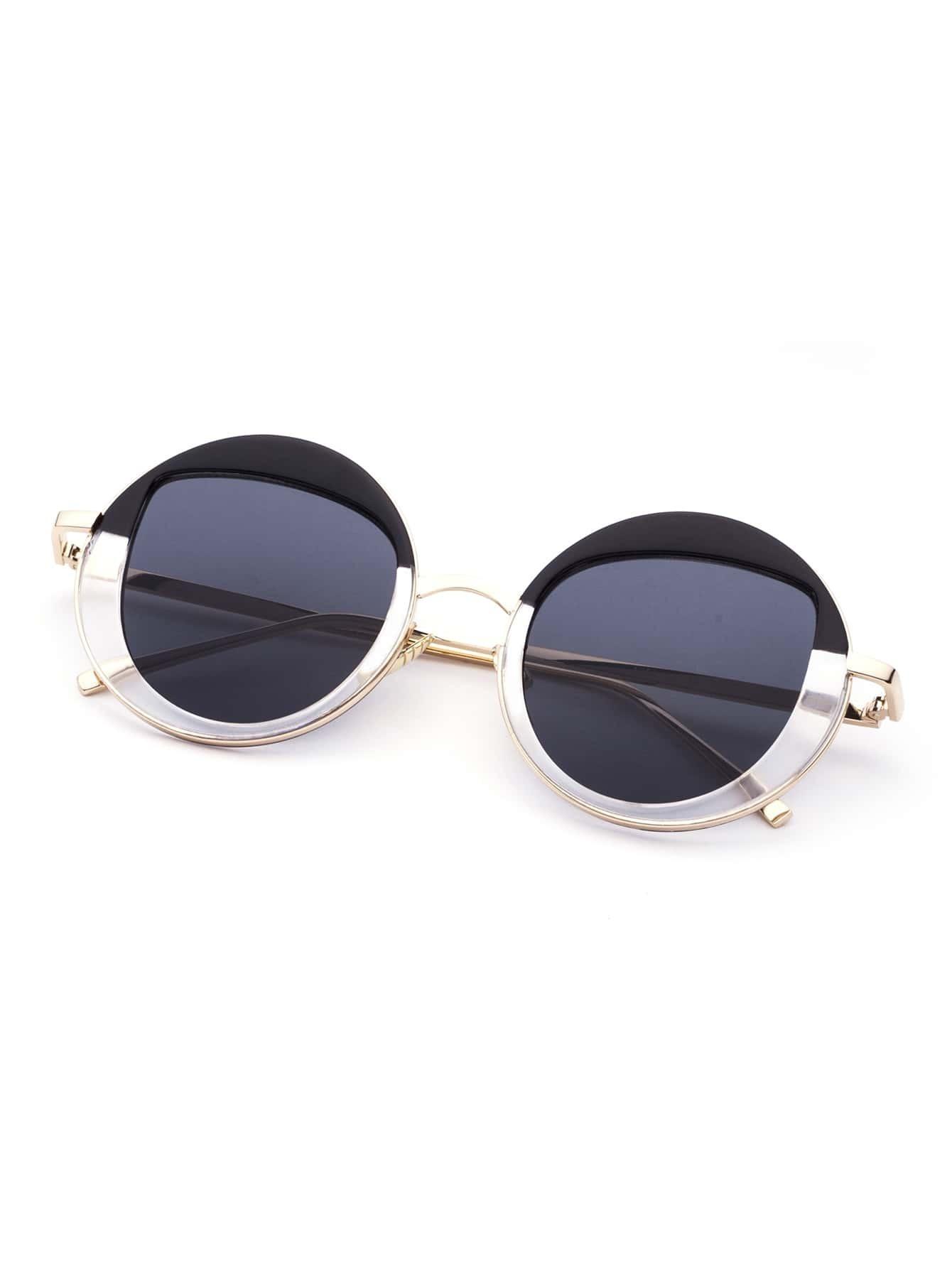Golden Frame Black Sunglasses : Black And Gold Frame Round Design Sunglasses