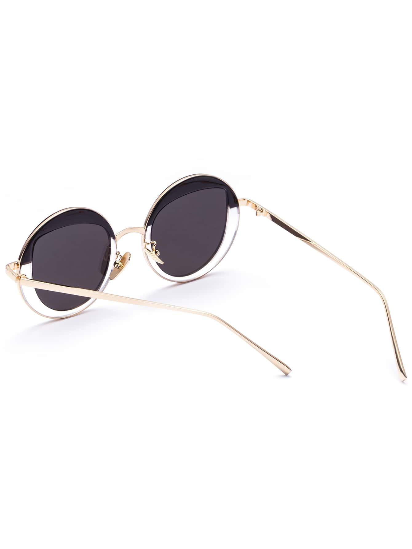 Gold Frame Chic Round SunglassesFor Women-romwe