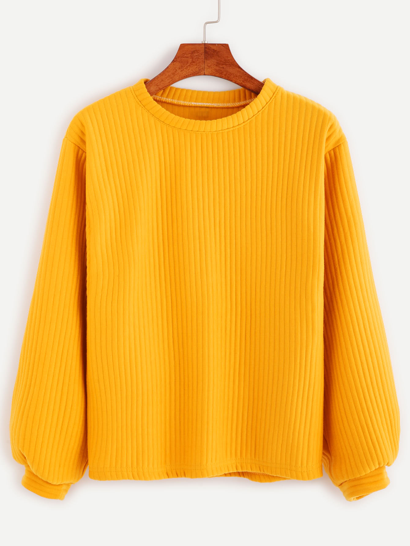 Yellow Long Sleeve Ribbed SweatshirtFor Women-romwe