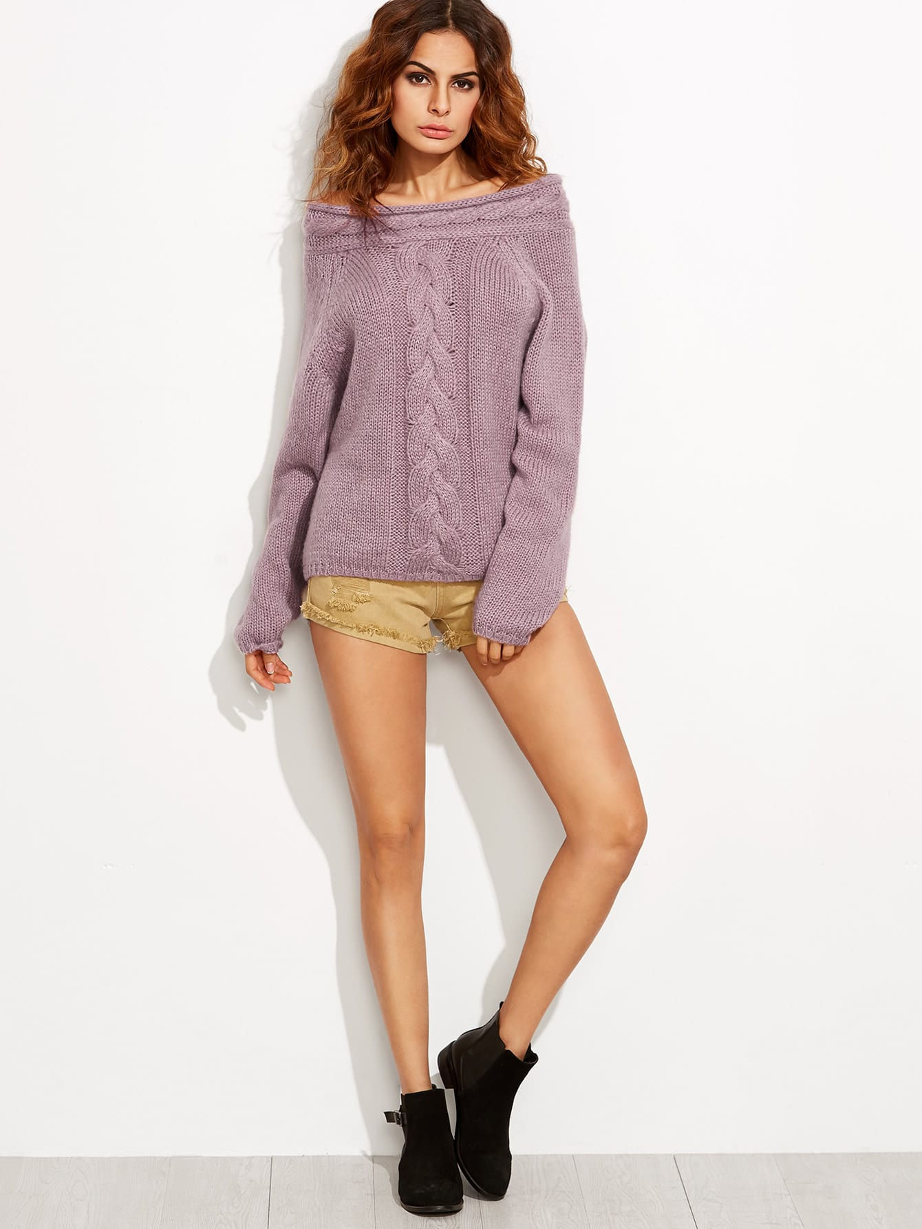 Purple Cable Knit Off The Shoulder SweaterFor Women-romwe