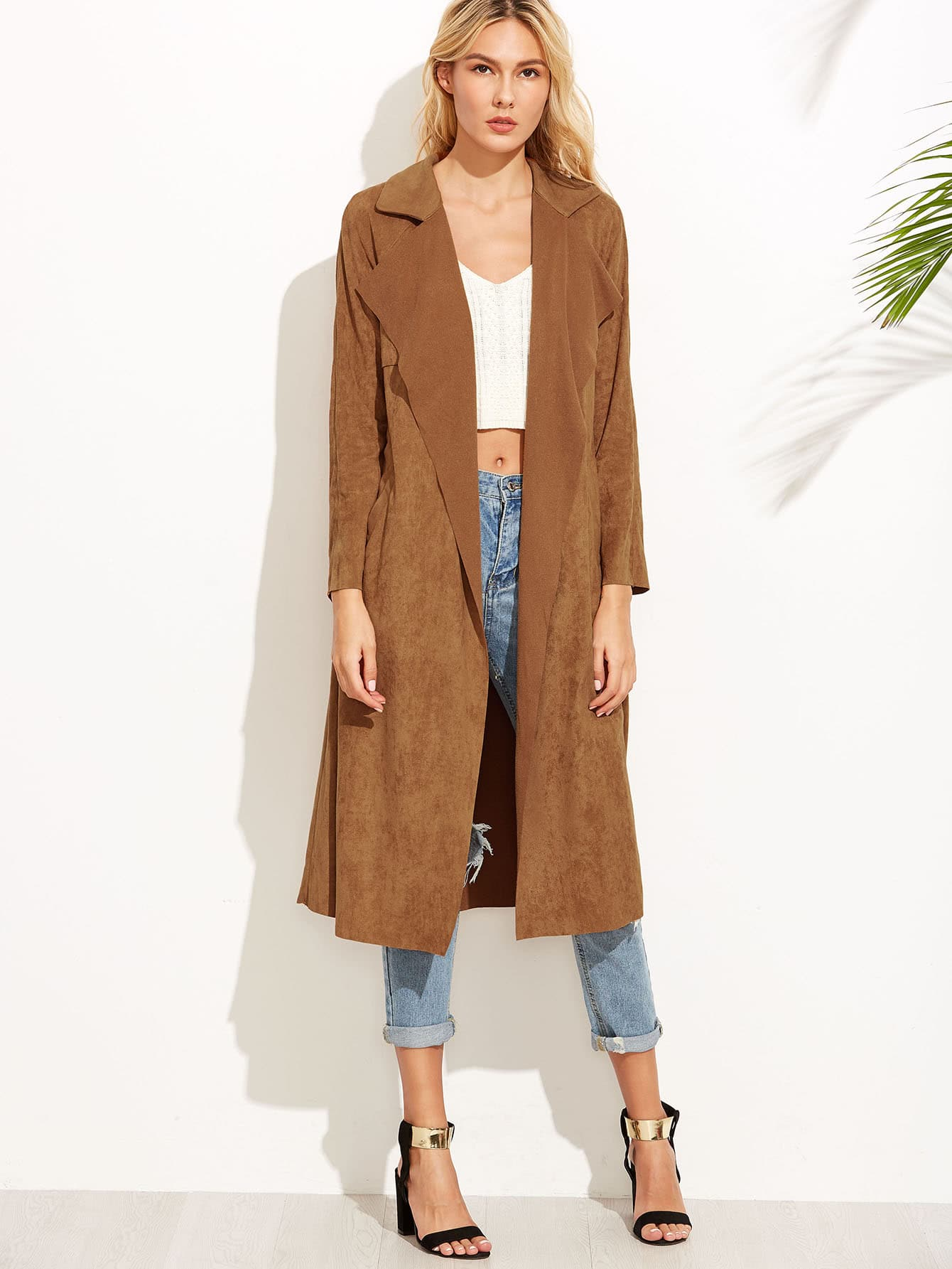 Brown Suede Self Tie Duster CoatFor Women-romwe