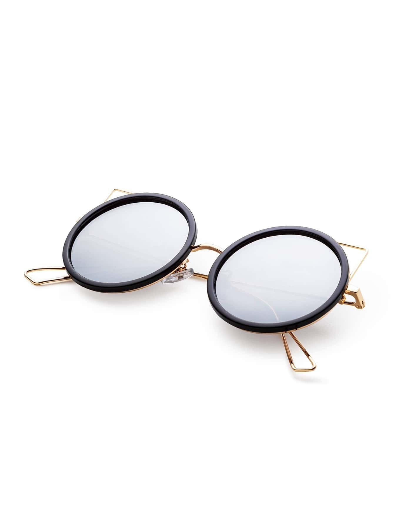 Black And Gold Frame Silver Lens Round Design Sunglasses