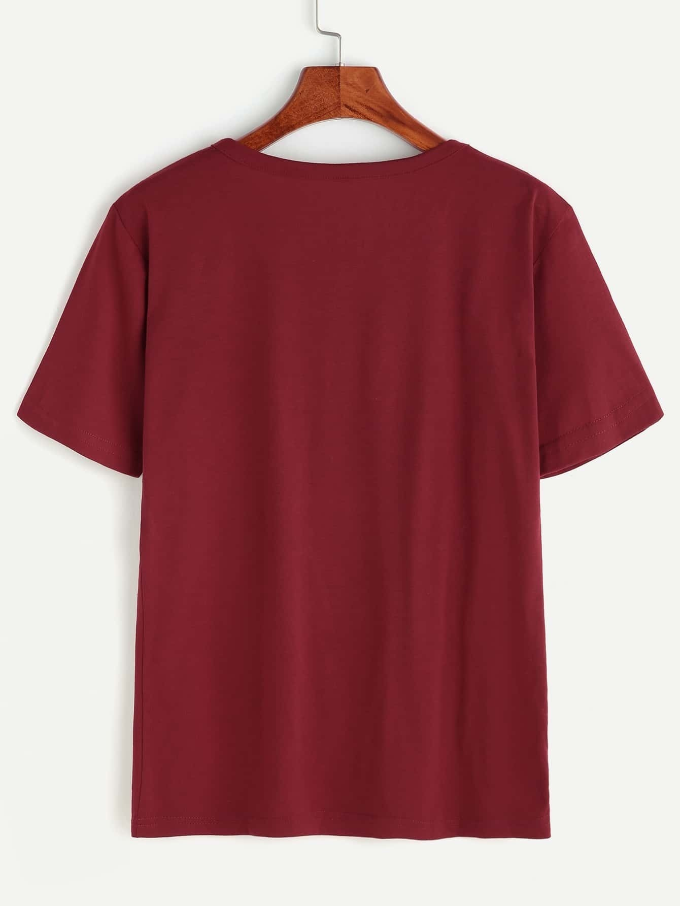 bourgogne slogan imprimer manches courtes t shirt french romwe. Black Bedroom Furniture Sets. Home Design Ideas