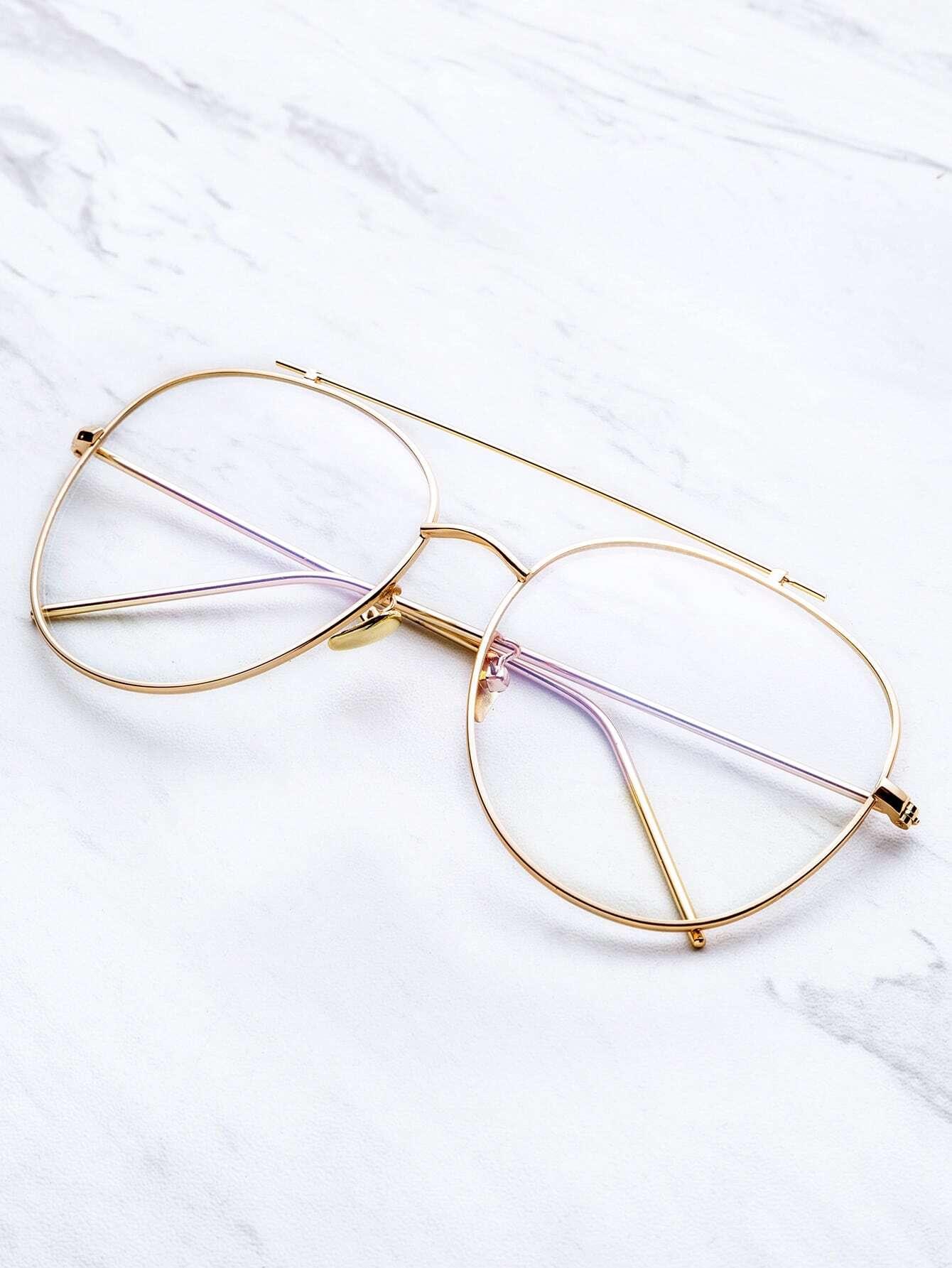 Glasses Frame Bridge : Gold Frame Clear Lens Double Bridge Glasses