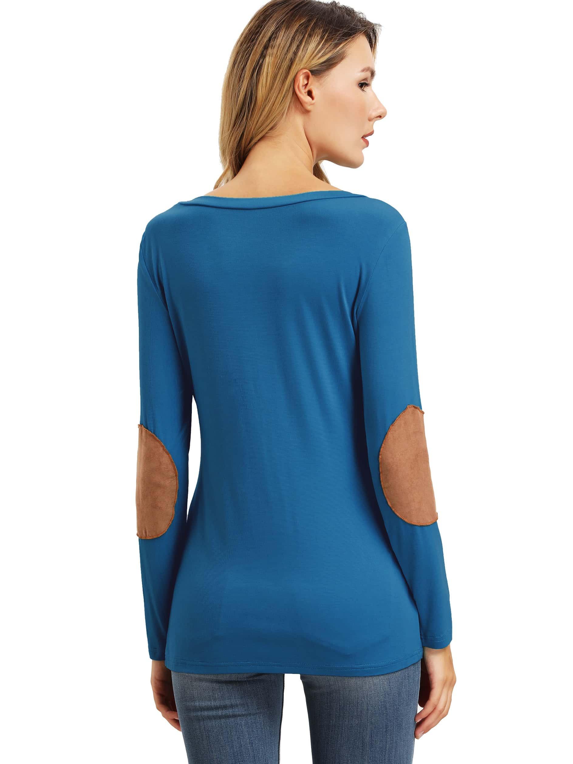 Blue Long Sleeve Elbow Patch T Shirt