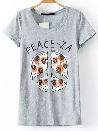 imprimer t shirt gris pizza french romwe. Black Bedroom Furniture Sets. Home Design Ideas