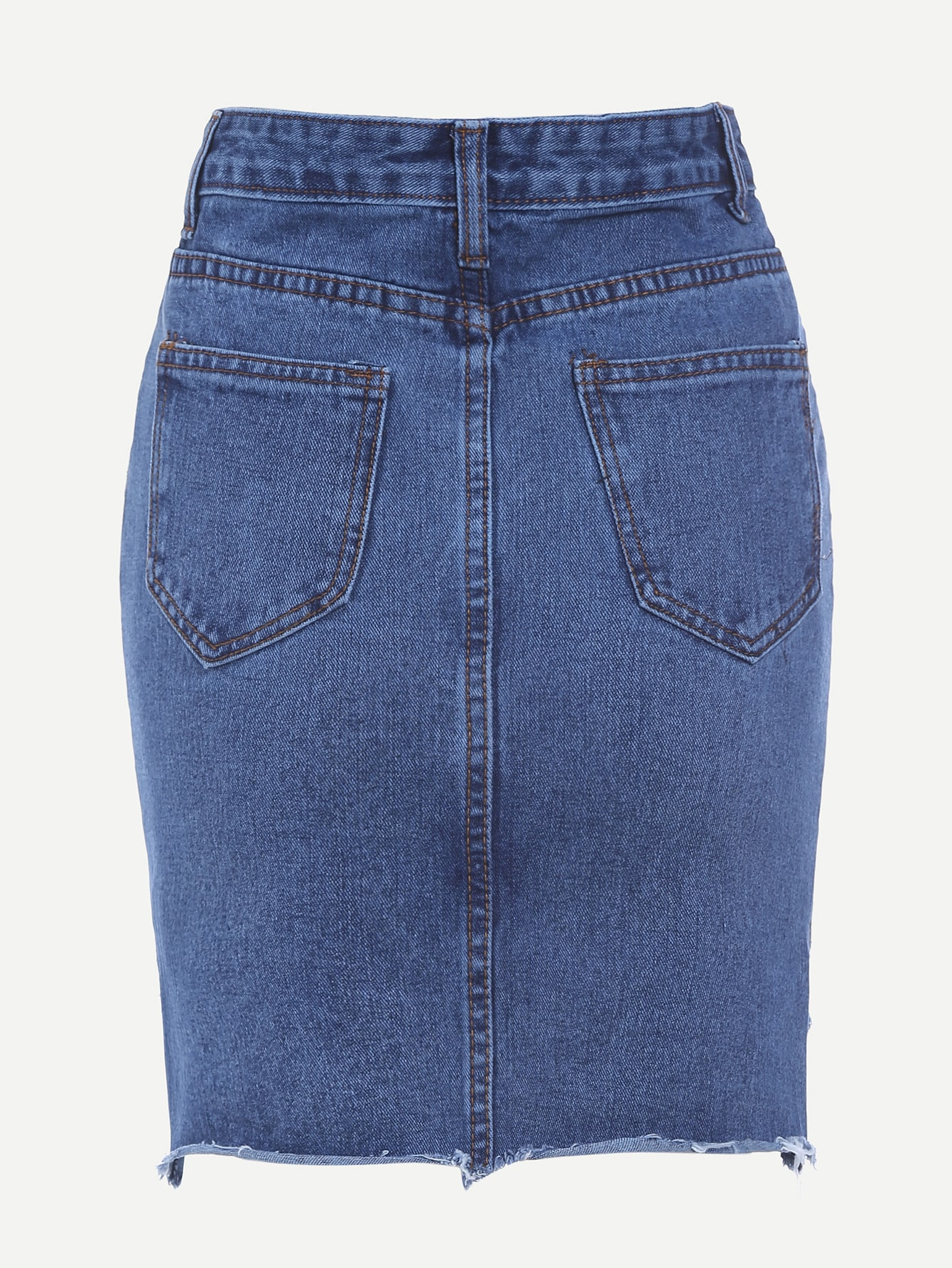 blue high low fraying denim skirt