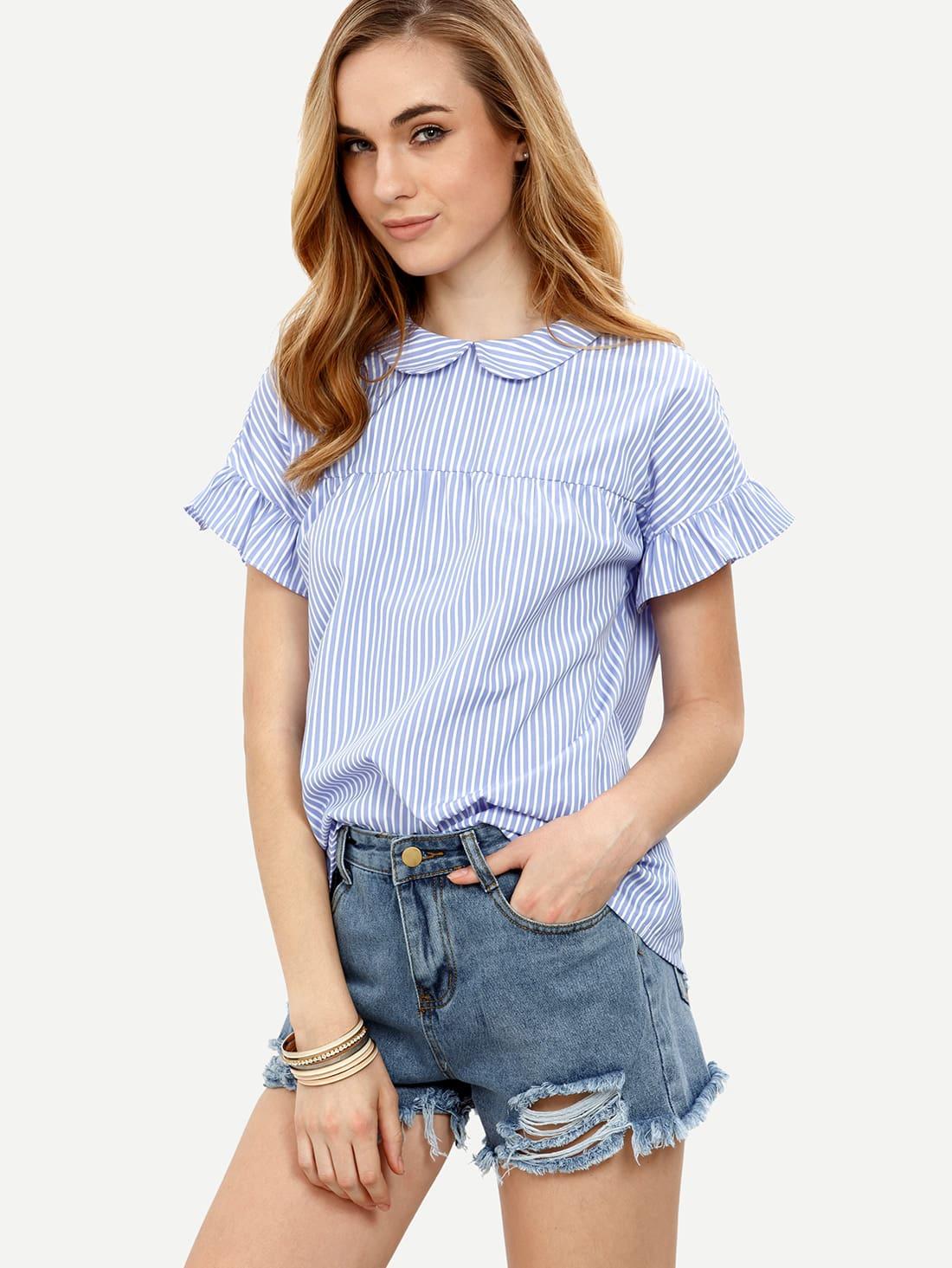 blue striped peter pan collar short sleeve blousefor women. Black Bedroom Furniture Sets. Home Design Ideas
