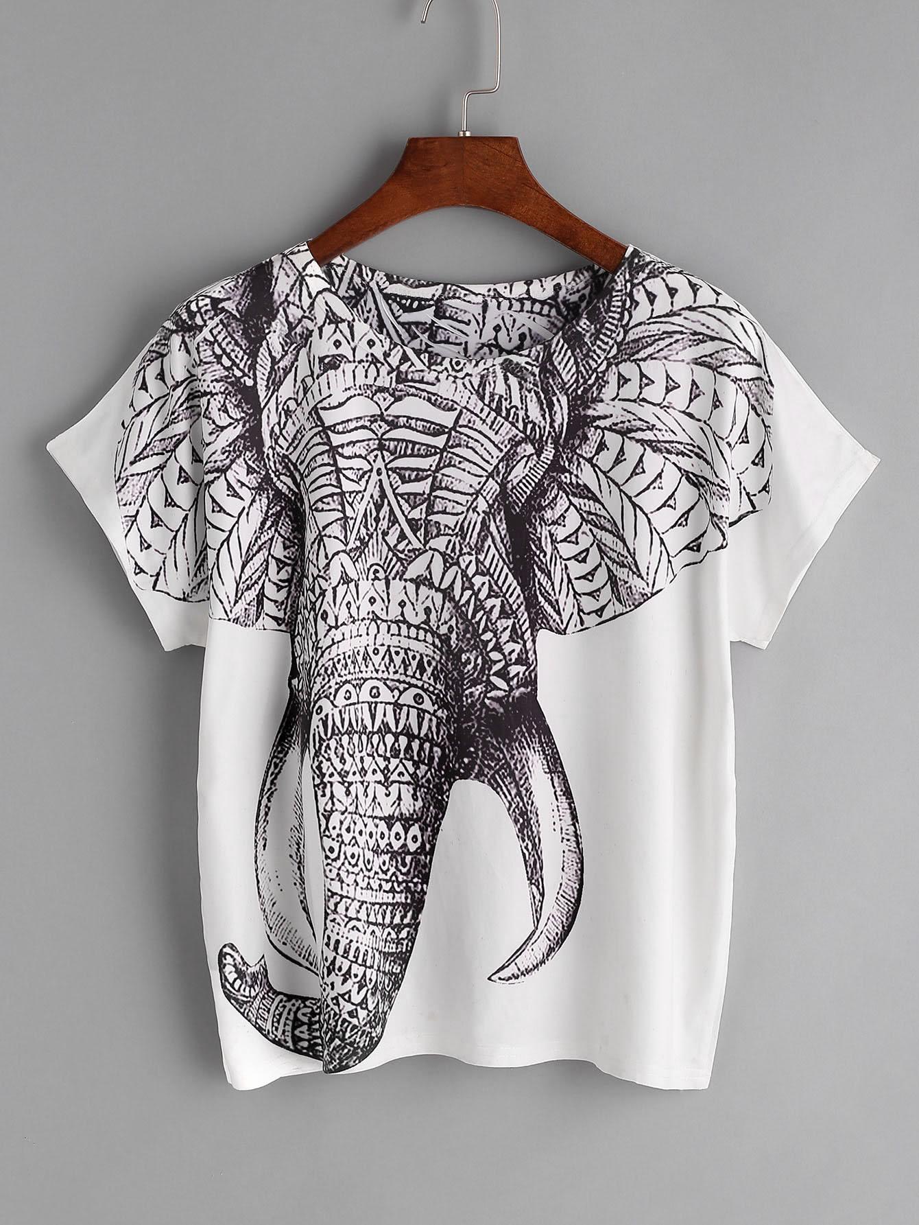 ornate elephant print tee