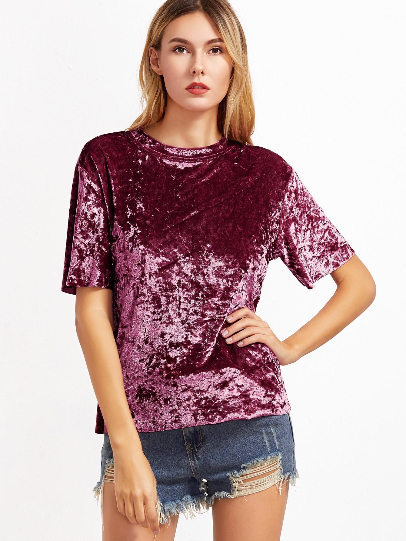 burgundy short sleeve crushed velvet t shirtfor women romwe