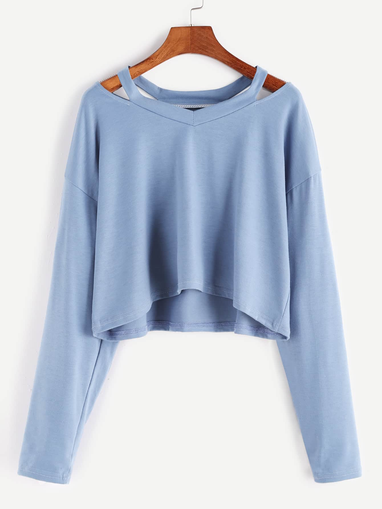 Blue Cut Out Neck Crop T-shirtFor Women-romwe