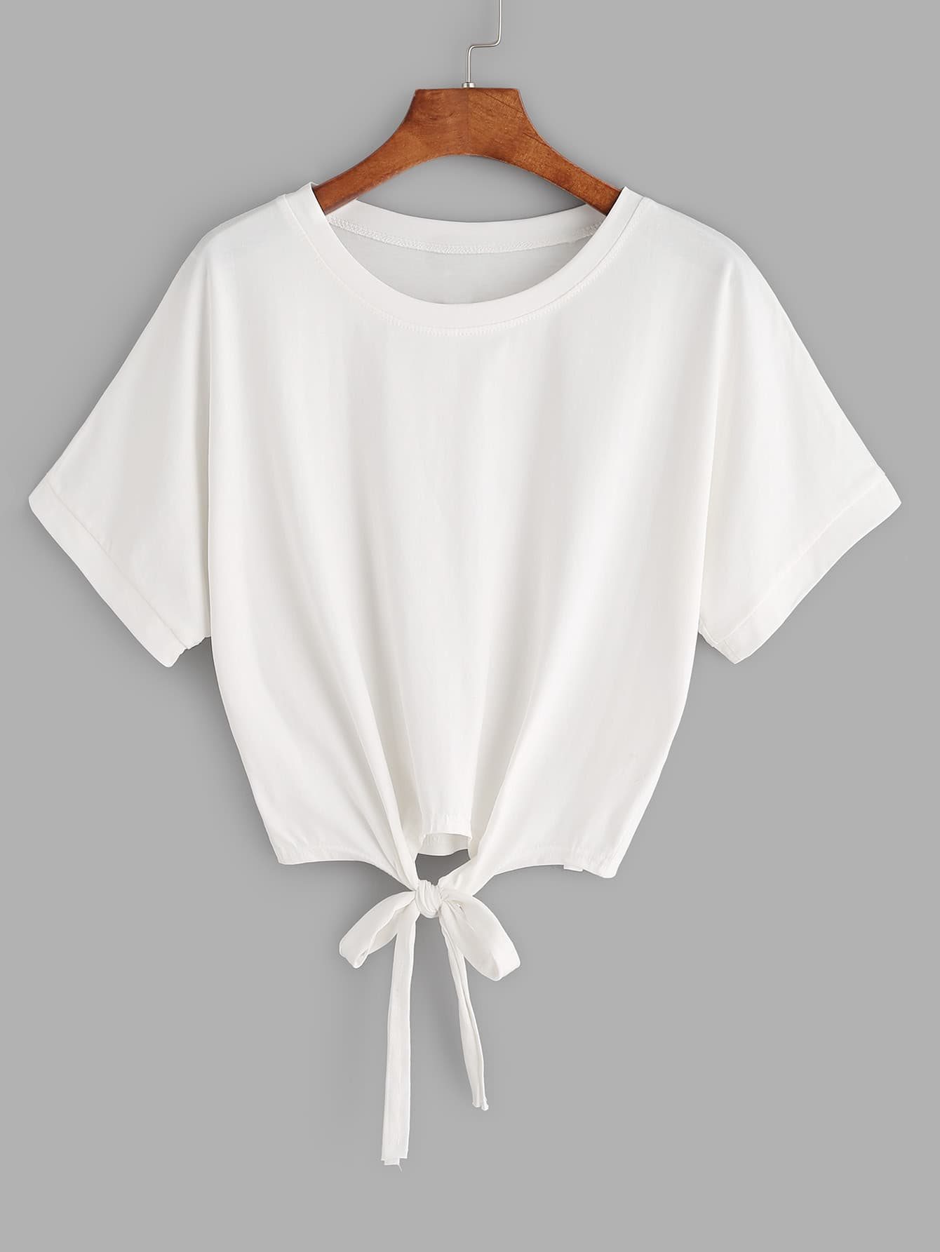 White Tie Front Crop T-shirtFor Women-romwe