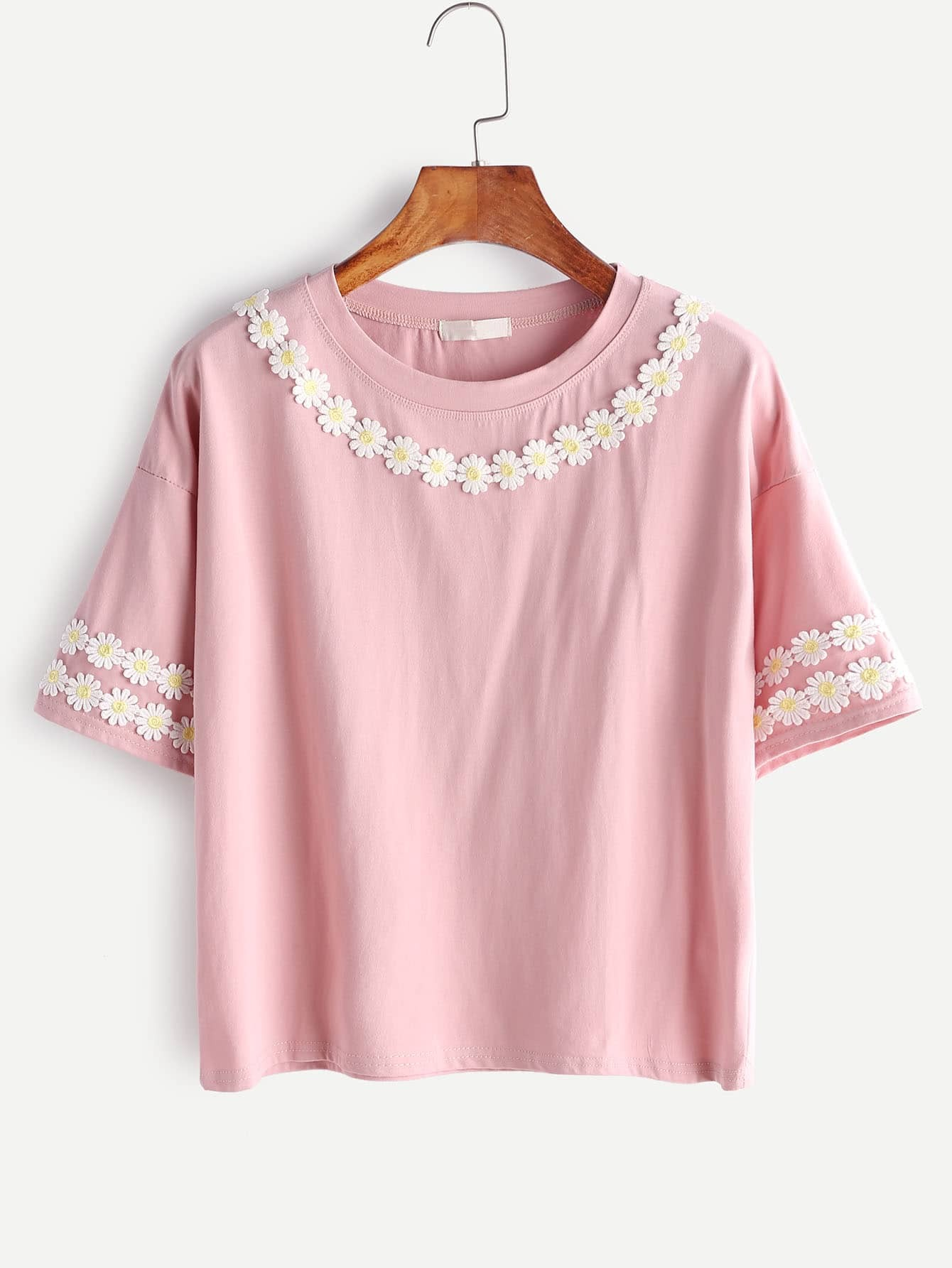 Pink Flower Applique Drop shoulder T-shirt