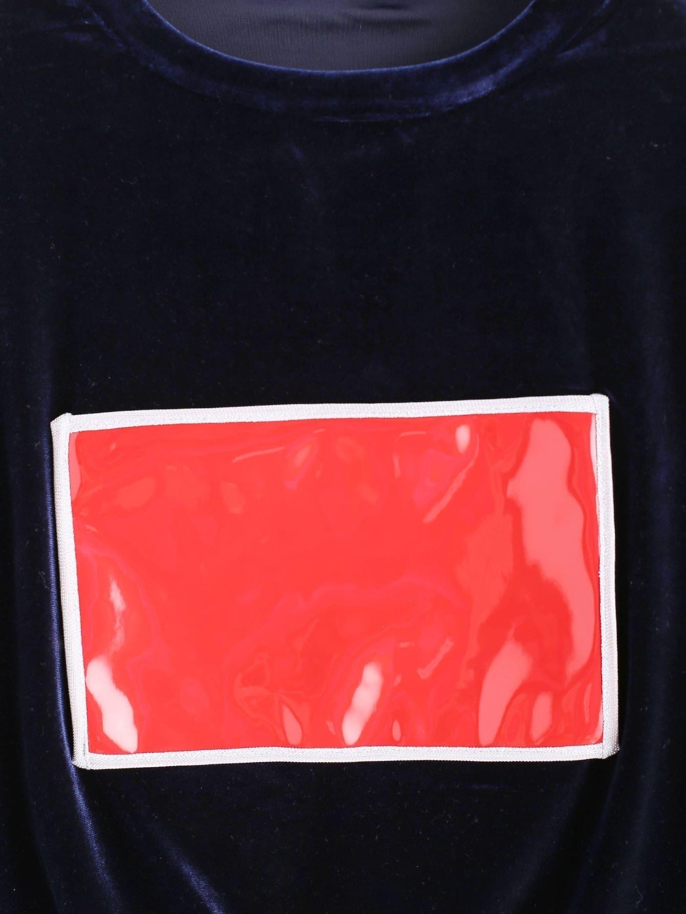 Royal Blue Contrast Patch Velvet Sweatshirt