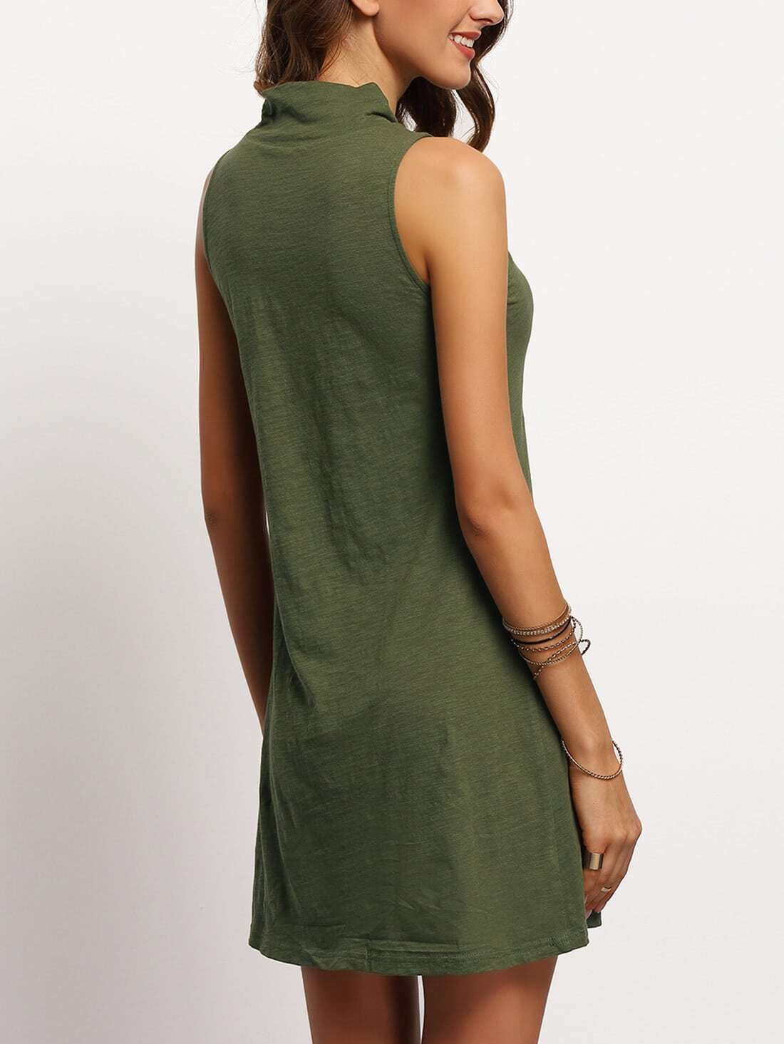 Blackish green mock neck sleeveless t shirt dressfor women for Sleeveless mock turtleneck shirts