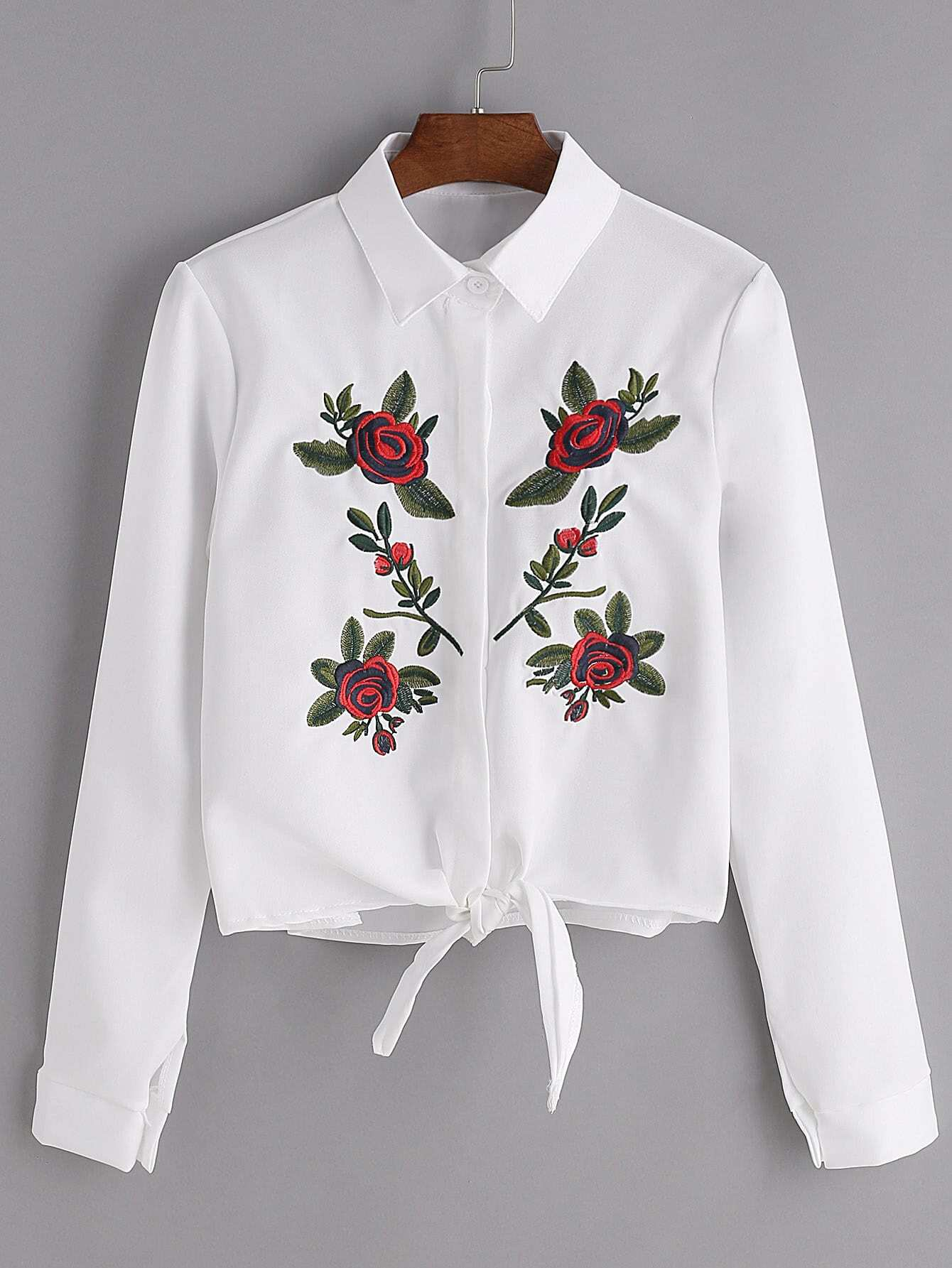 White flower embroidered tie front shirtfor women romwe