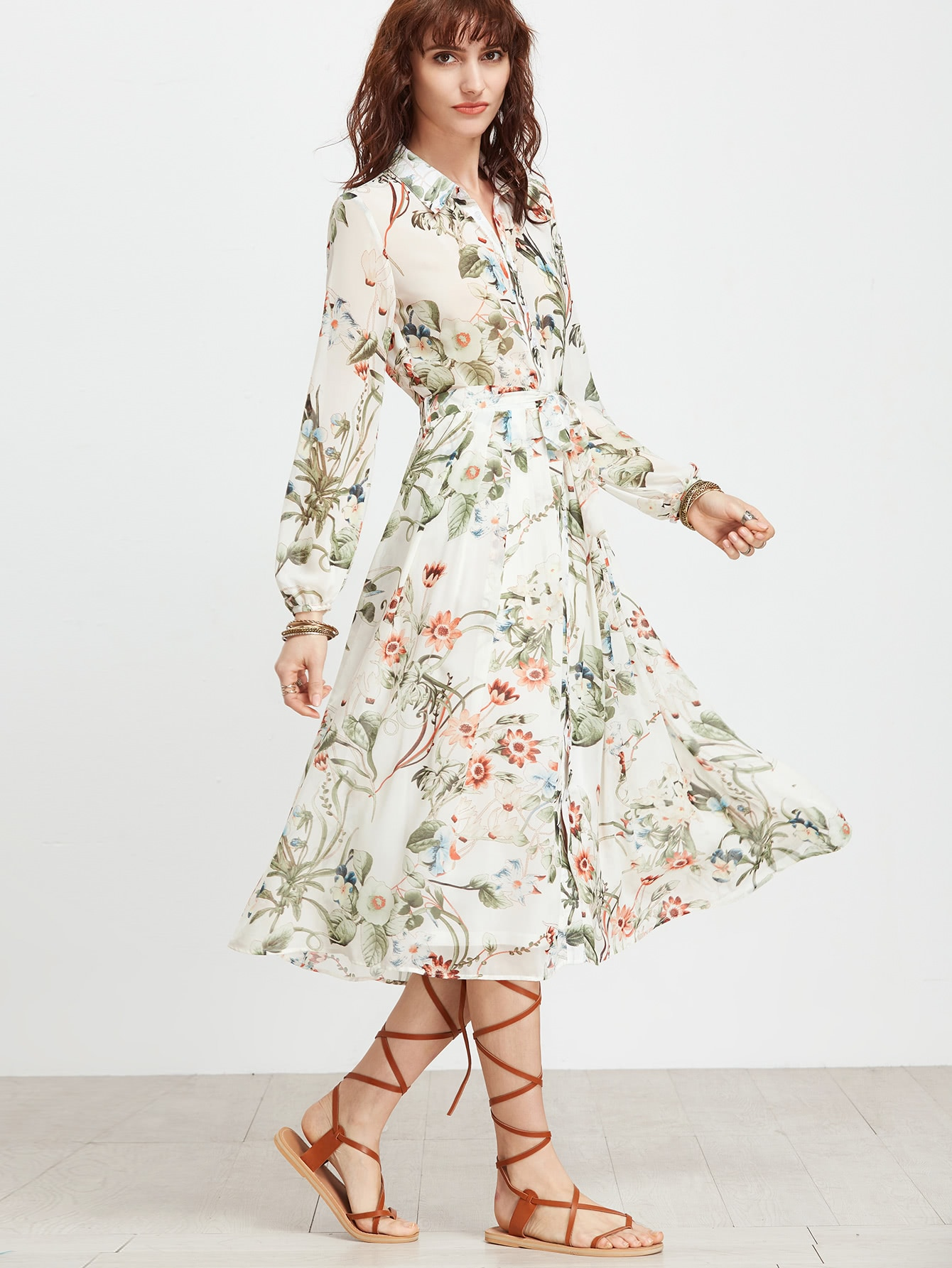 White floral shirt dress with self tiefor women romwe for White floral shirt womens