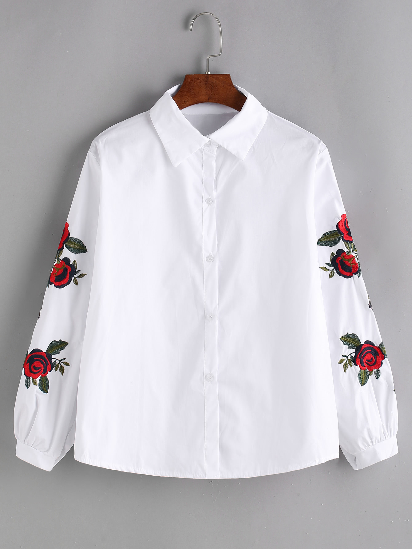White rose embroidered shirtfor women romwe