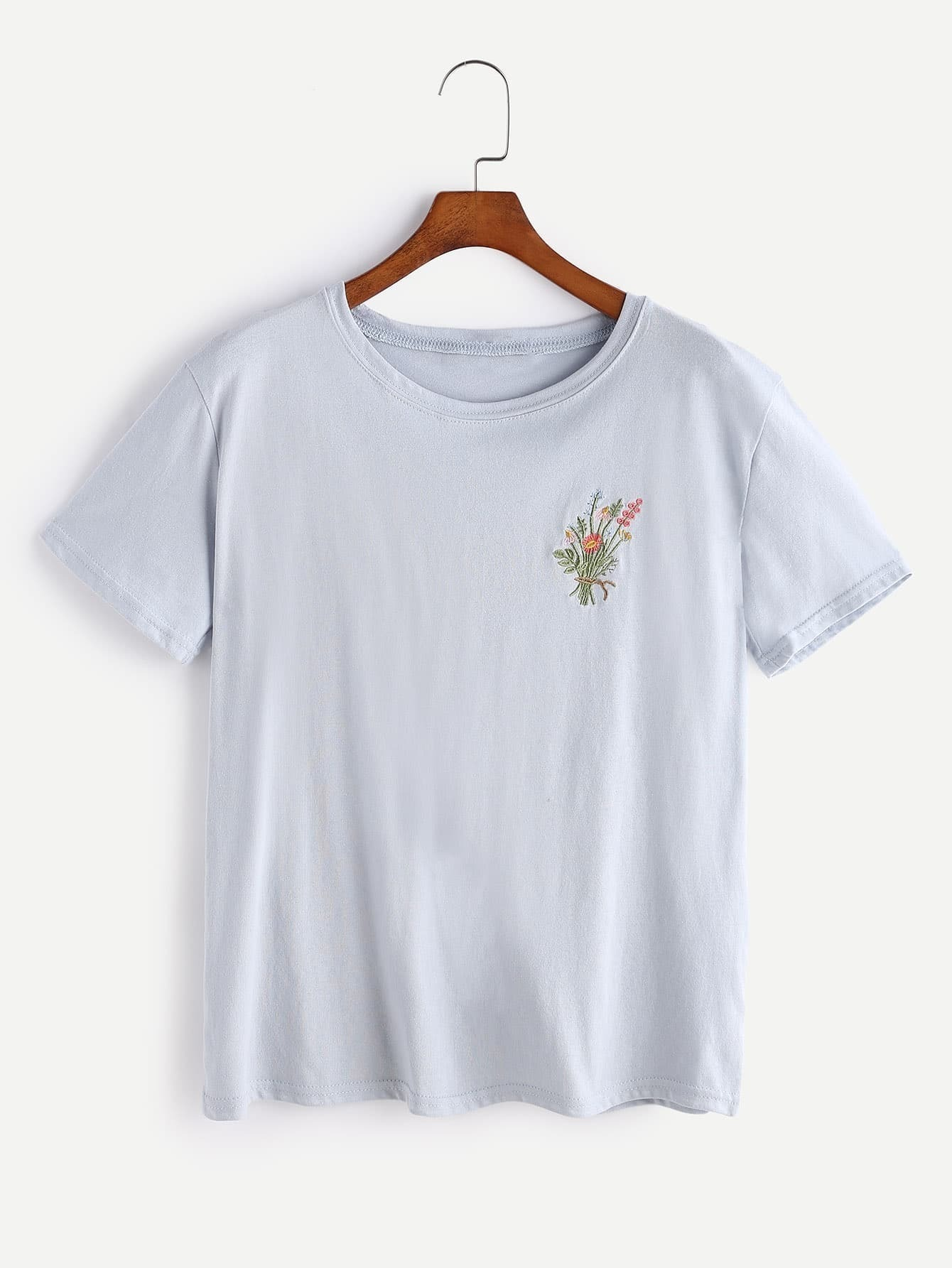 Botanical embroidered t shirtfor women romwe